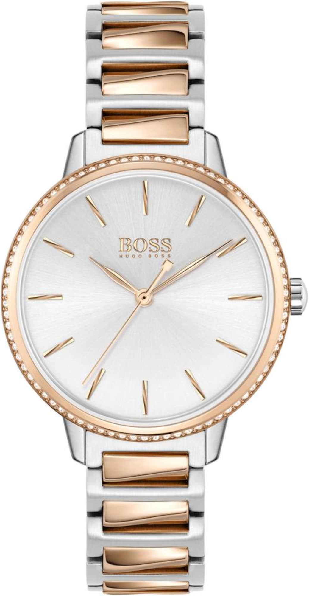 BOSS Analoginis (įprasto dizaino) laikrodis 'SIGNATURE' rožinio aukso spalva / sidabrinė / balta