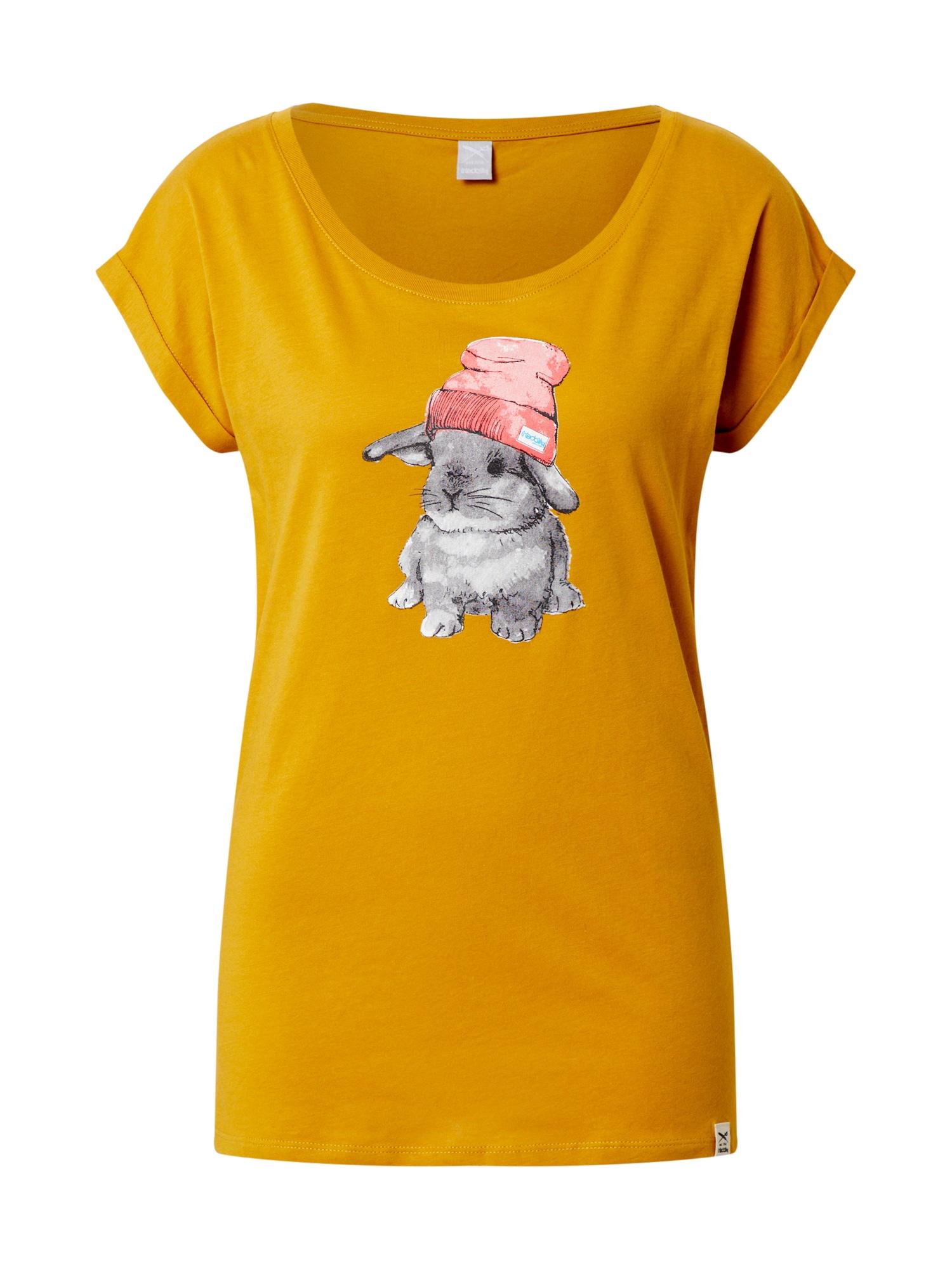 Iriedaily Tričko 'It Hasi'  sivá melírovaná / zlatá žltá / svetloružová