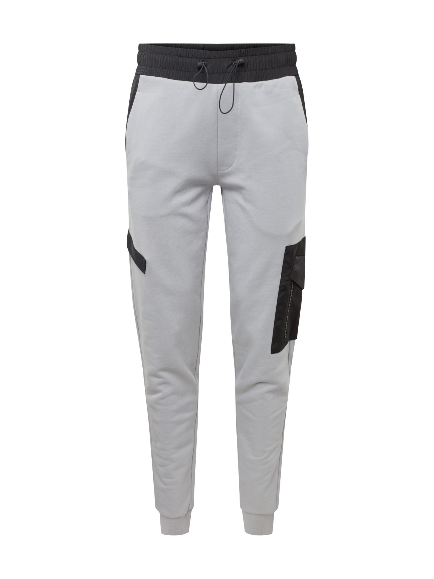 Kalhoty Danzio šedá černá HUGO