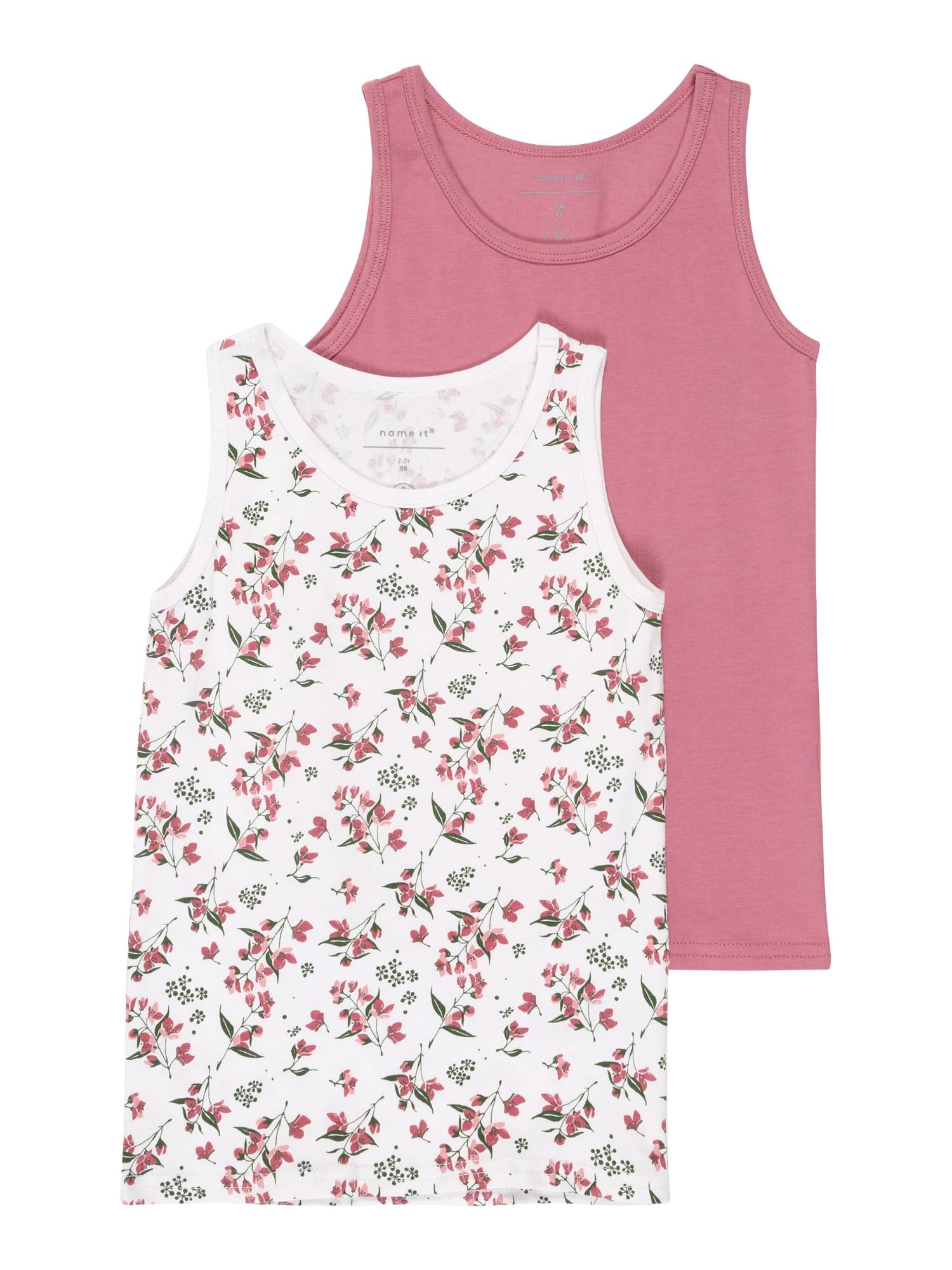 NAME IT Apatiniai marškinėliai 'NMFTANK TOP 2P HEATHER ROSE AOP NOOS' rožinė