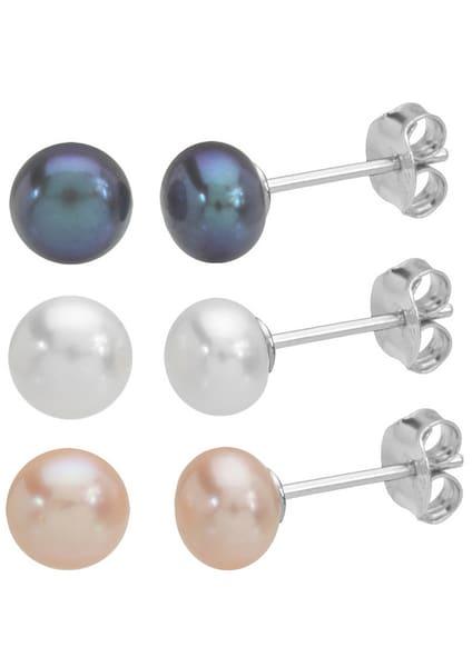 Ohrringe für Frauen - FIRETTI 3 Paar Perlohrstecker silber  - Onlineshop ABOUT YOU