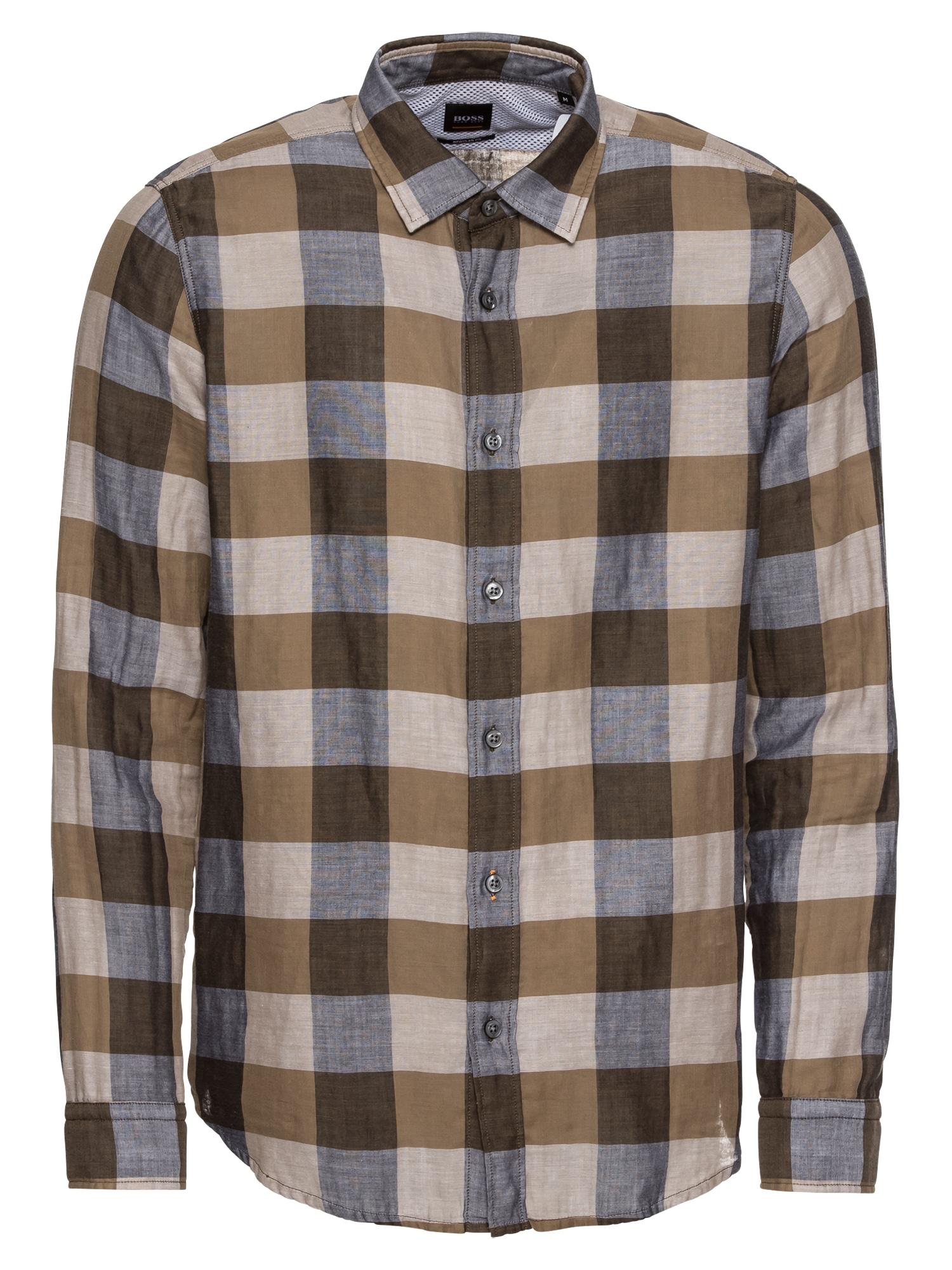 Košile Reggie 10208463 01 béžová světlemodrá hnědá BOSS