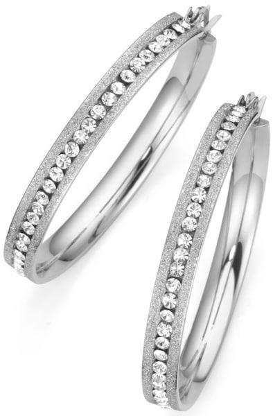 Ohrringe für Frauen - FIRETTI Paar Creolen mit Kristallsteinen silber weiß  - Onlineshop ABOUT YOU
