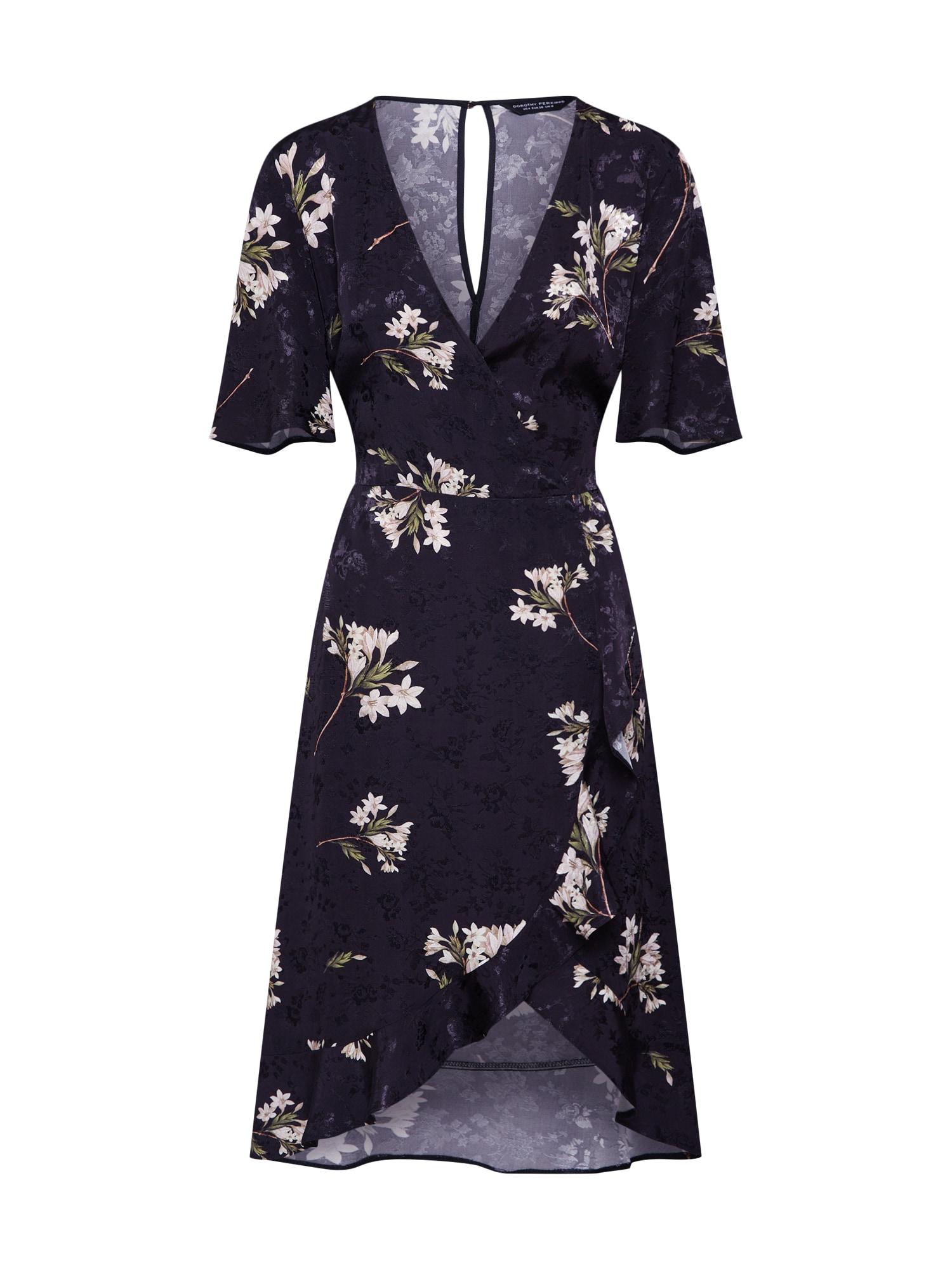 Košilové šaty SATIN WRAP JACQUARD MIDI černá Dorothy Perkins