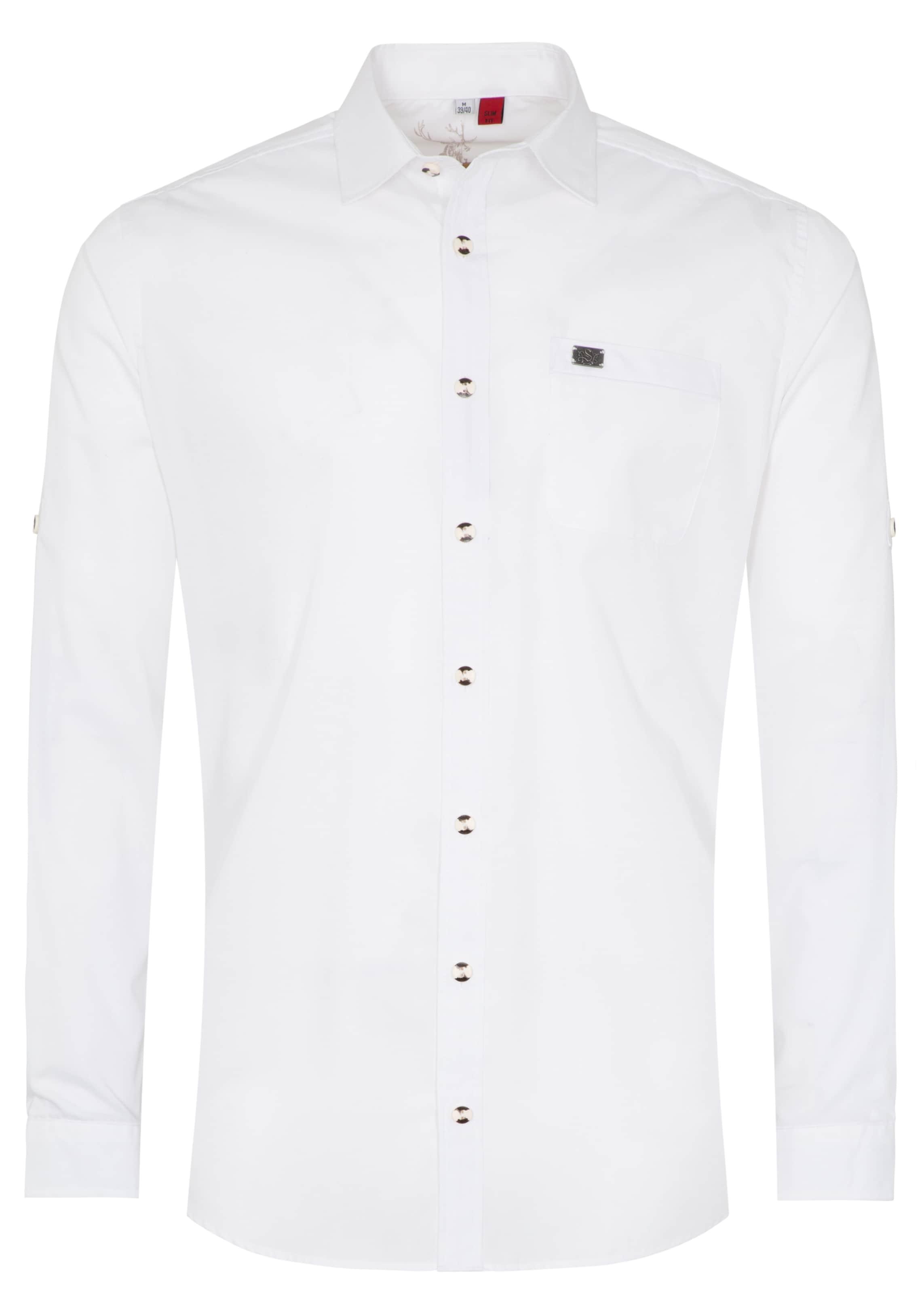 Herren SPIETH & WENSKY Trachtenhemd 'Kalmus' weiß | 04059829559639