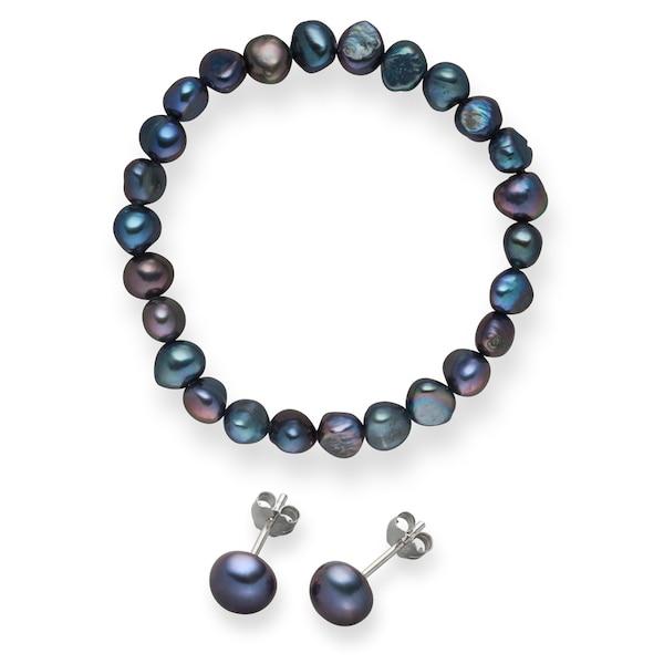 Armbaender für Frauen - Valero Pearls Süßwasserzuchtperlen Armband und Ohrstecker (2er Set) enzian  - Onlineshop ABOUT YOU