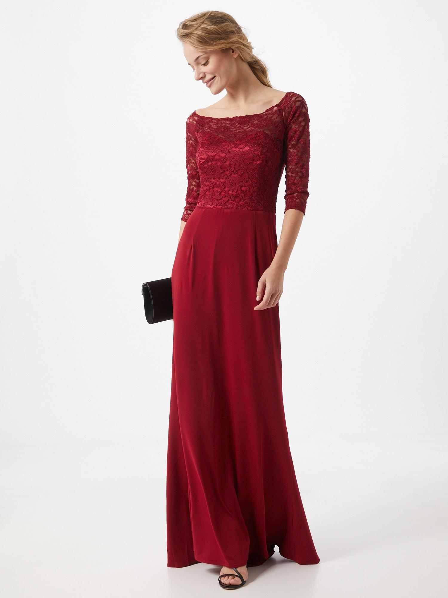 SWING Večerné šaty  vínovo červená.