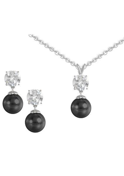 Schmucksets für Frauen - FIRETTI Ohrstecker und Halskette schwarz silber  - Onlineshop ABOUT YOU