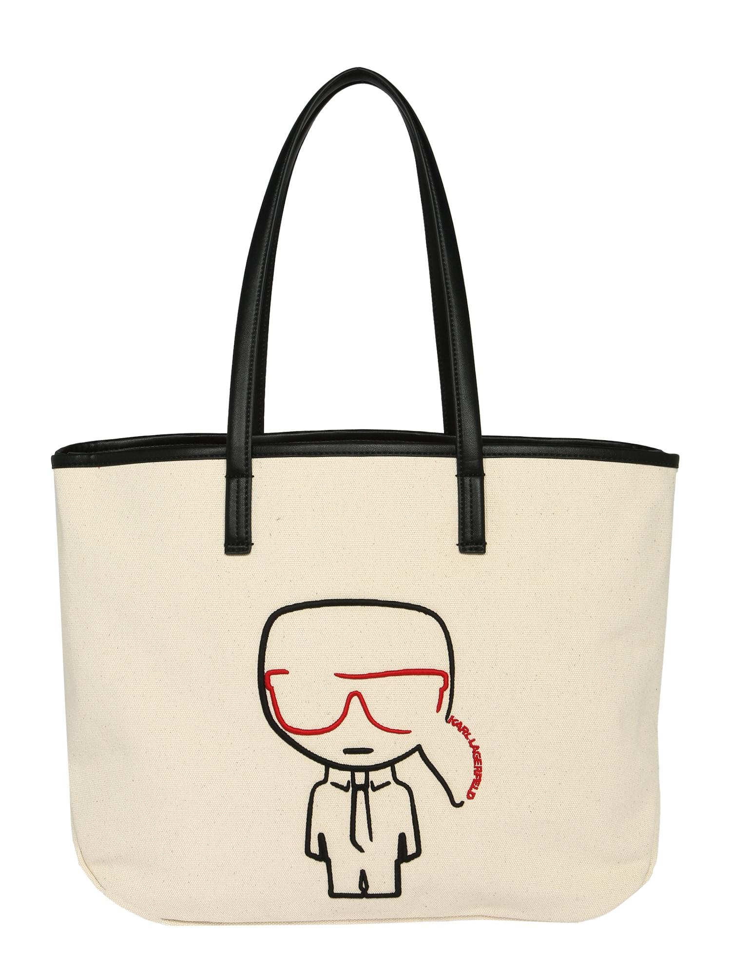 Karl Lagerfeld Pirkinių krepšys kremo / raudona / juoda