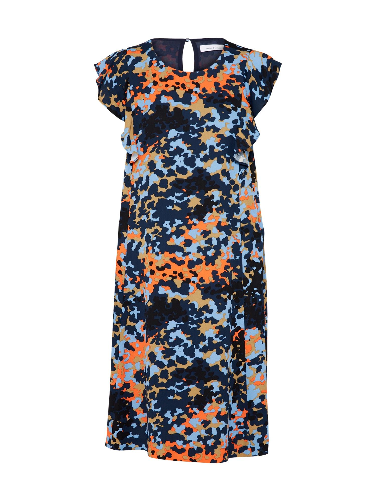 Koktejlové šaty Mentha námořnická modř světlemodrá oranžová Samsoe & Samsoe