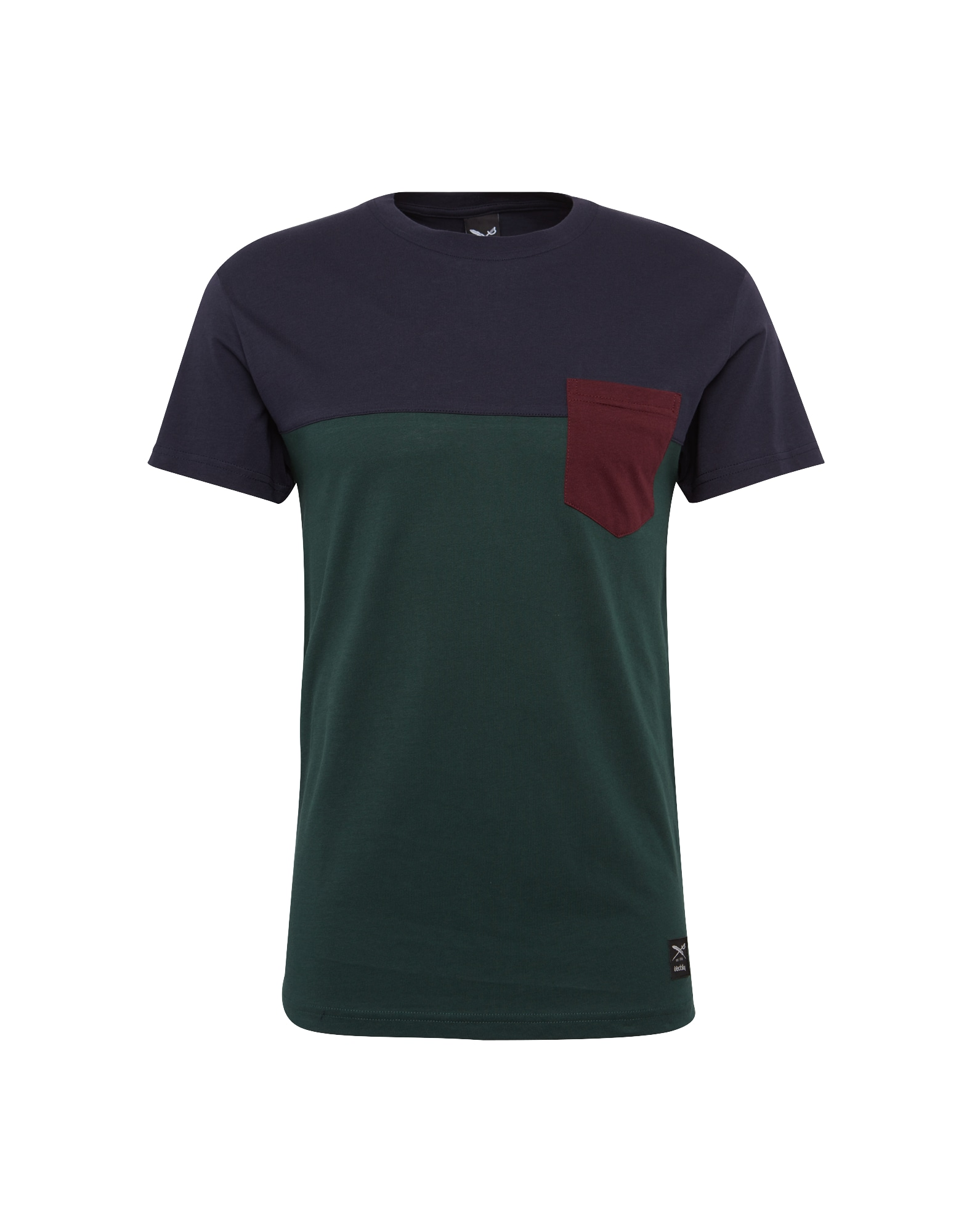 Tričko Block Pocket 2 Tee tmavě modrá tmavě zelená bordó Iriedaily