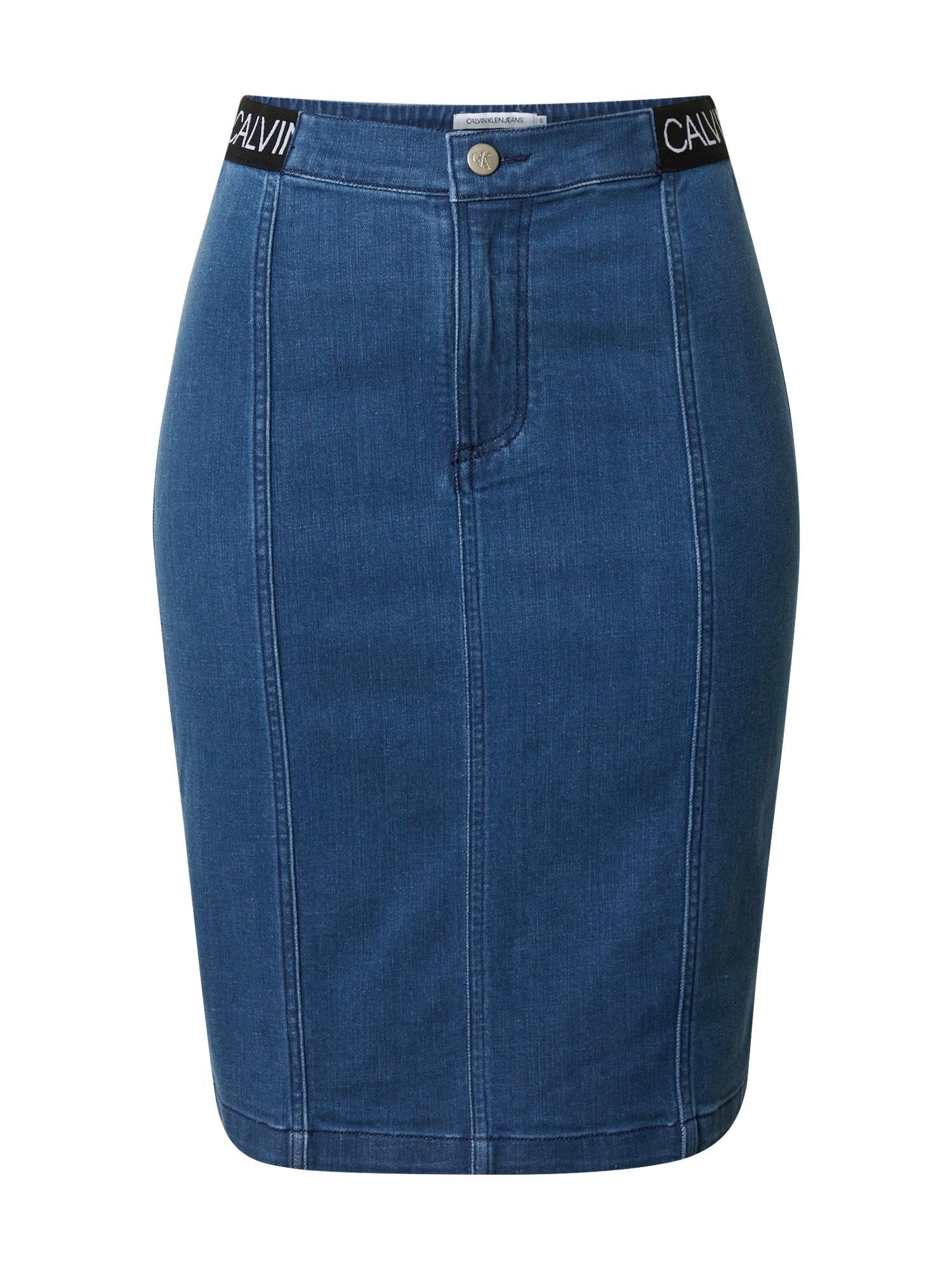 Calvin Klein Jeans Sijonas tamsiai (džinso) mėlyna