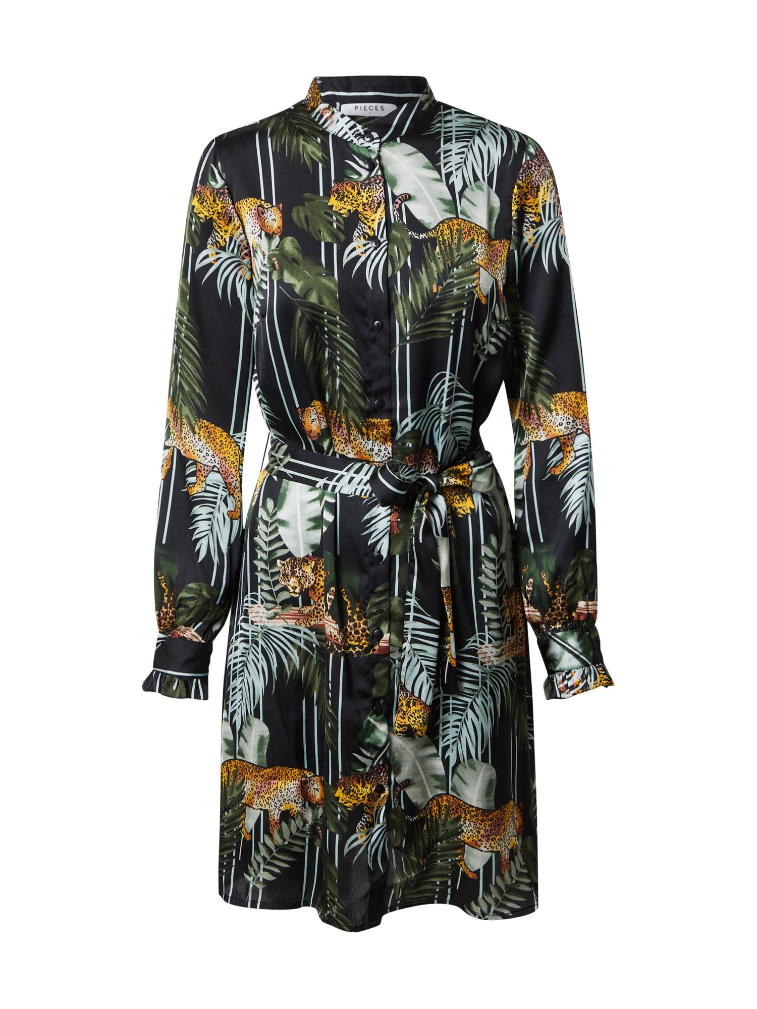 PIECES Košeľové šaty 'KIMI'  zmiešané farby / olivová / čierna