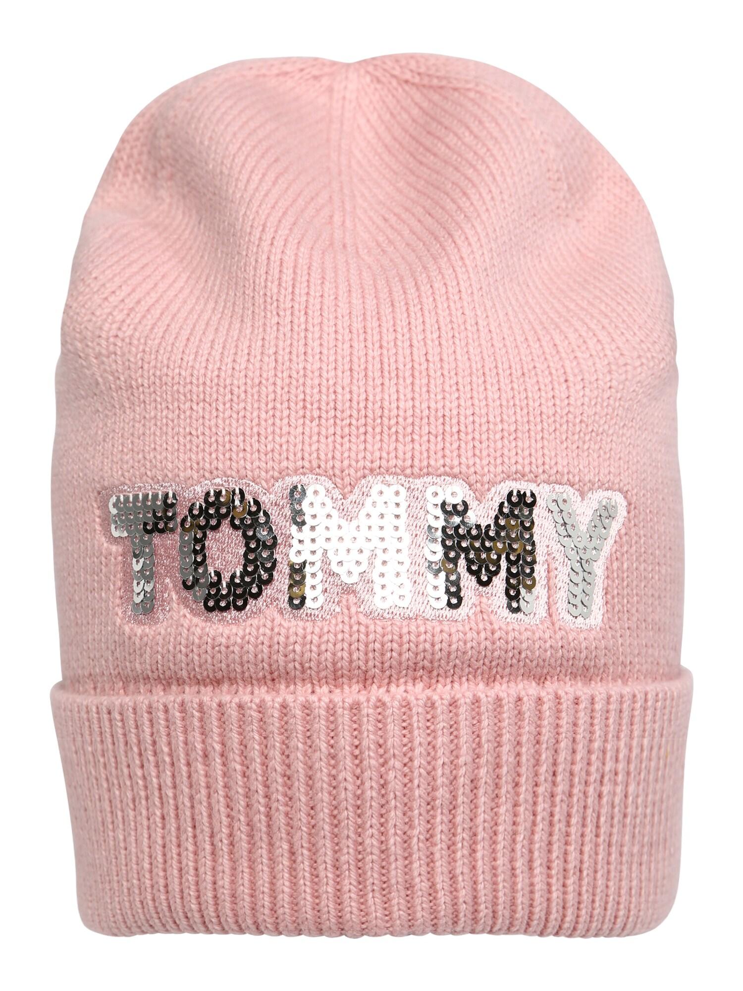 Čepice TOMMY PATCH růžová stříbrná TOMMY HILFIGER