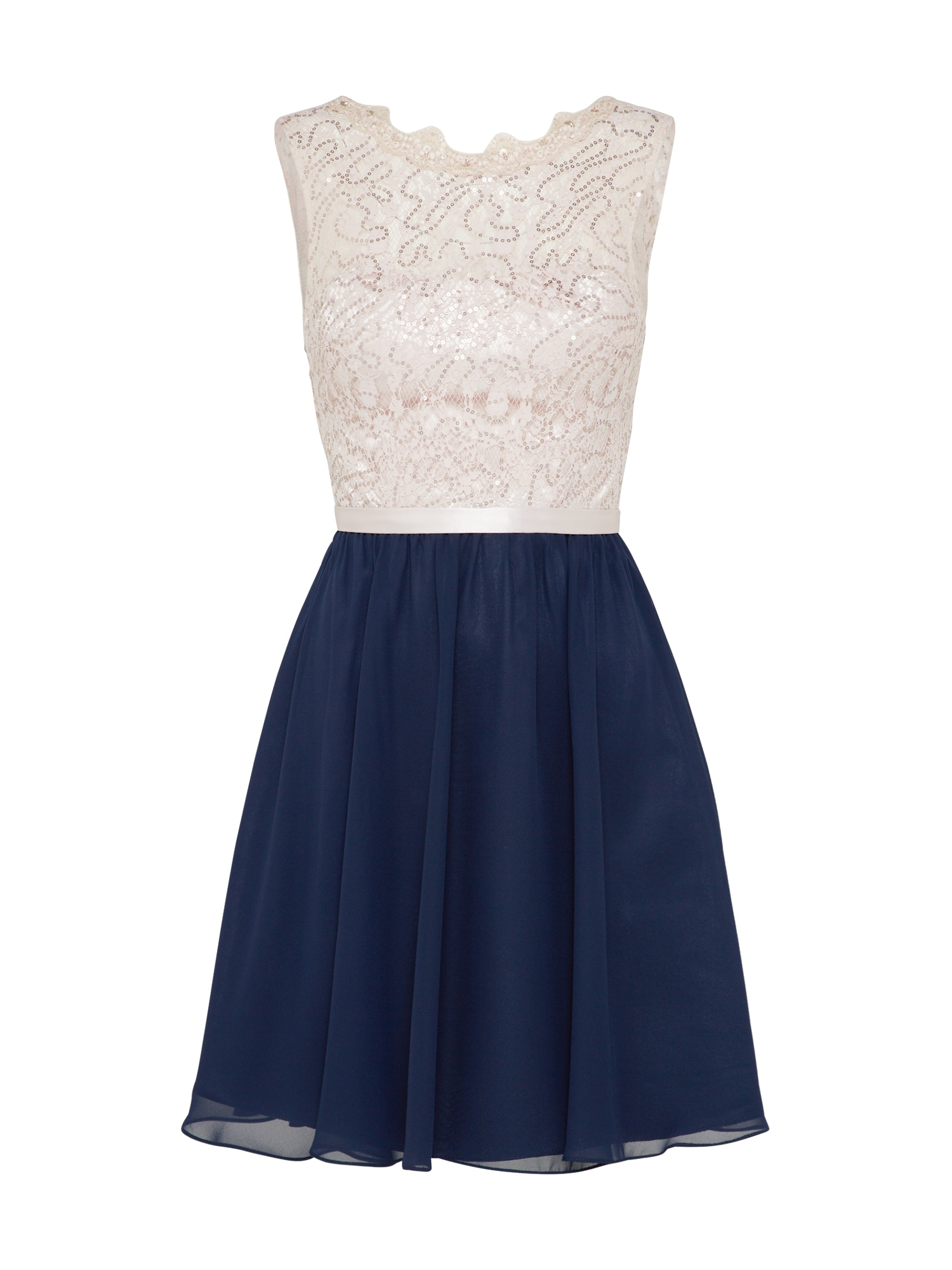 Koktejlové šaty béžová námořnická modř Laona
