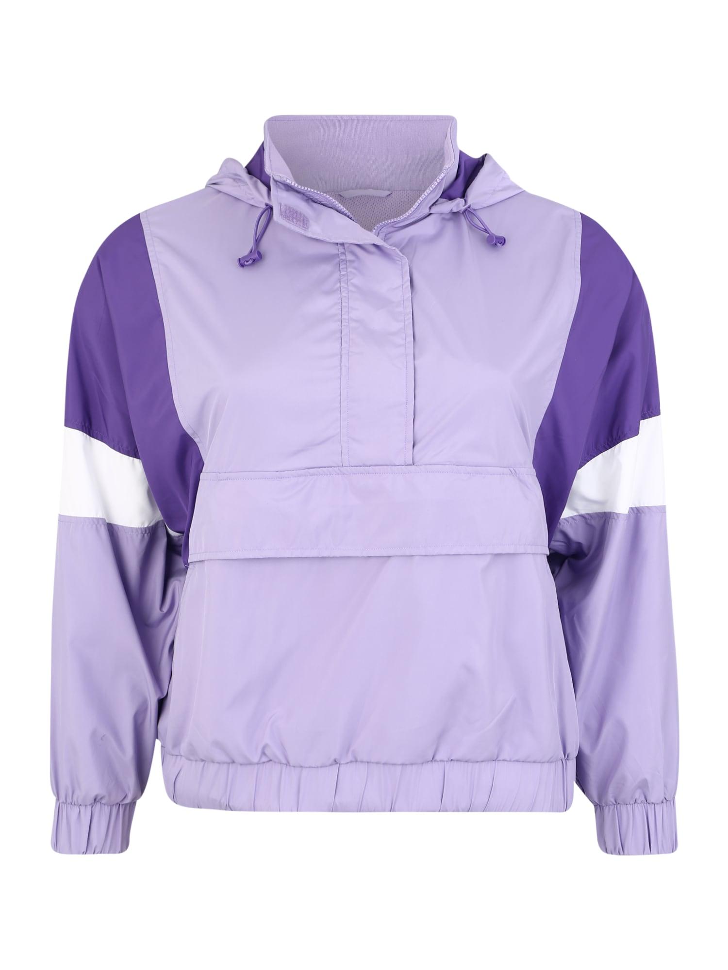Urban Classics Curvy Demisezoninė striukė balta / purpurinė / alyvinė spalva