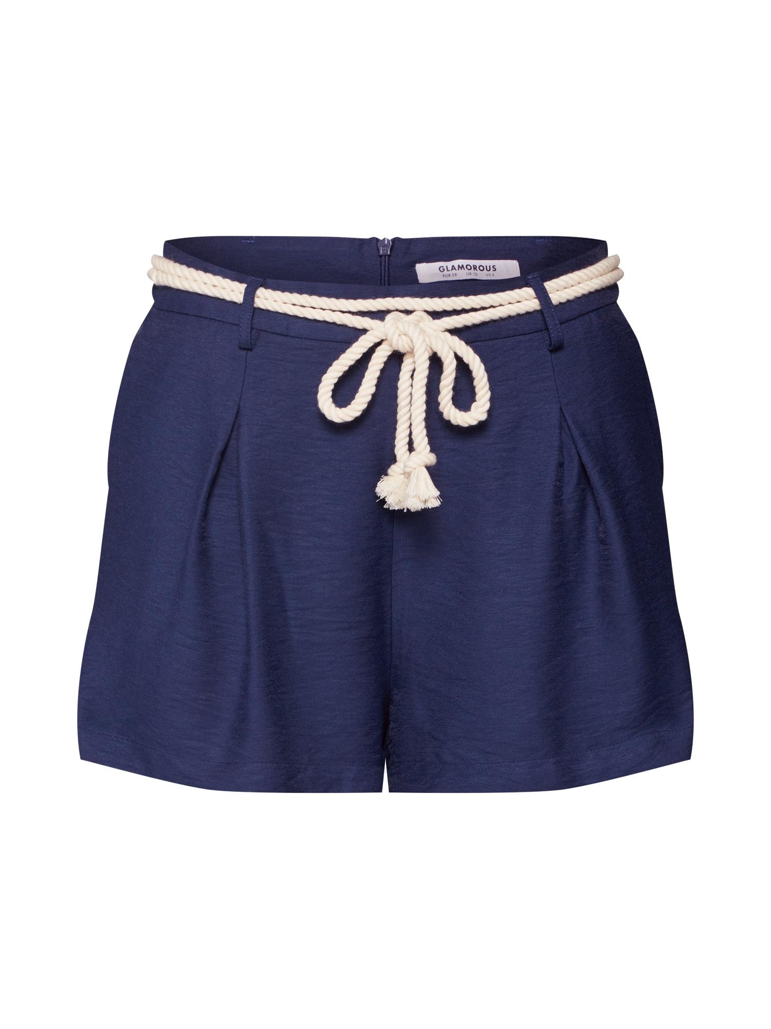 Kalhoty se sklady v pase béžová námořnická modř GLAMOROUS