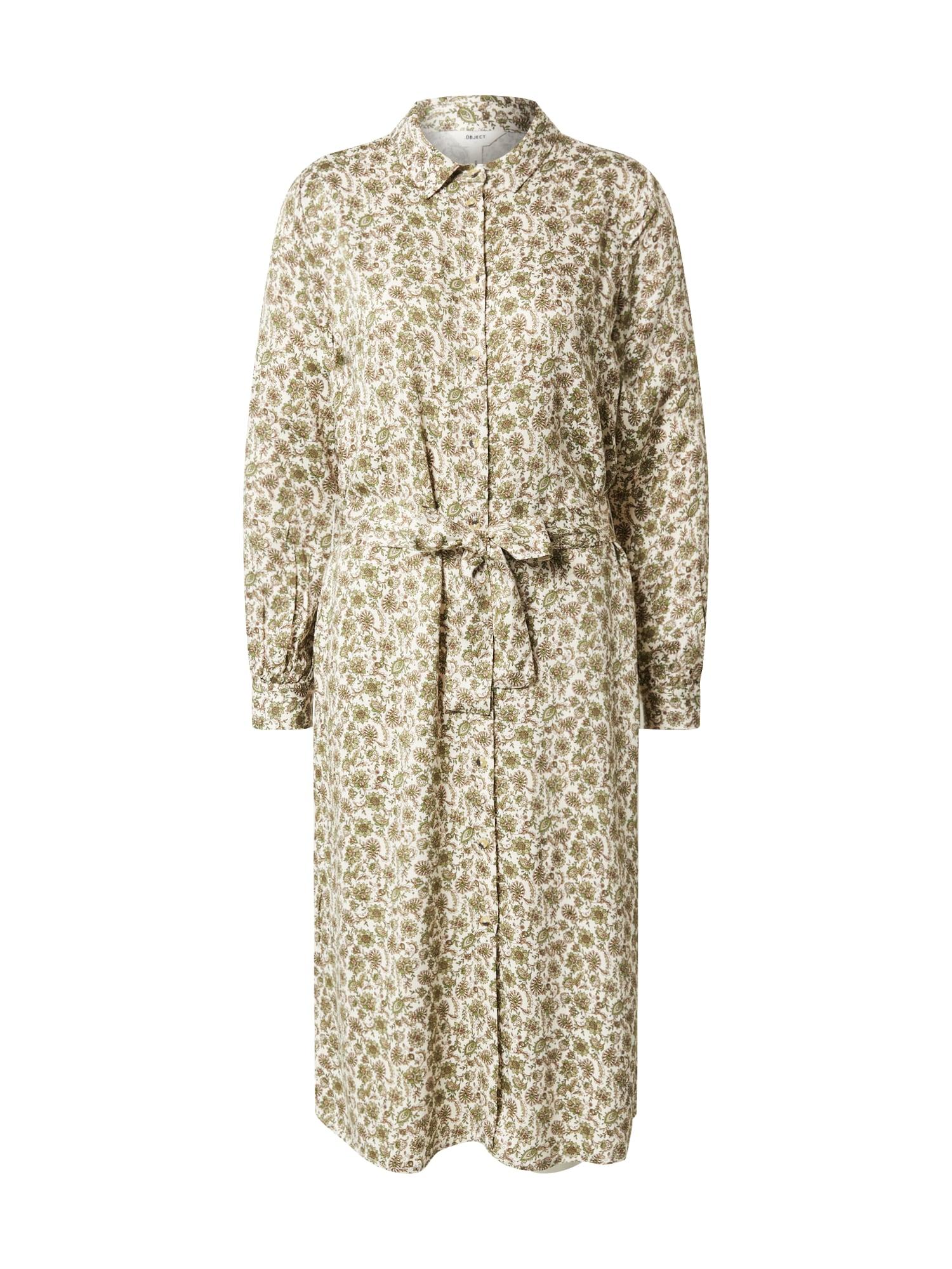 OBJECT Košeľové šaty 'OBJKALILA L/S SHIRT DRESS 108 DIV'  olivová / krémová