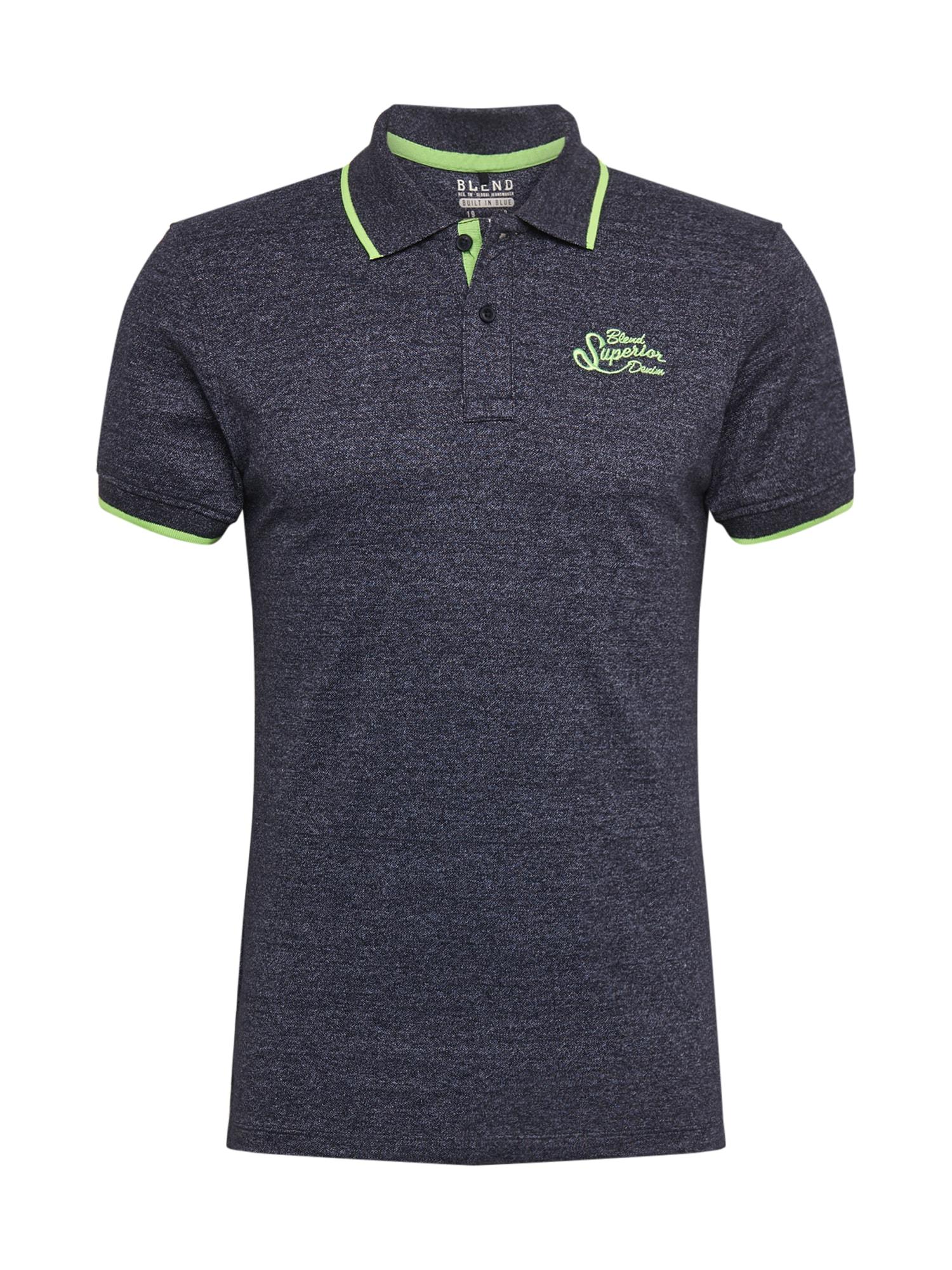 BLEND Marškinėliai gencijono spalva / neoninė žalia