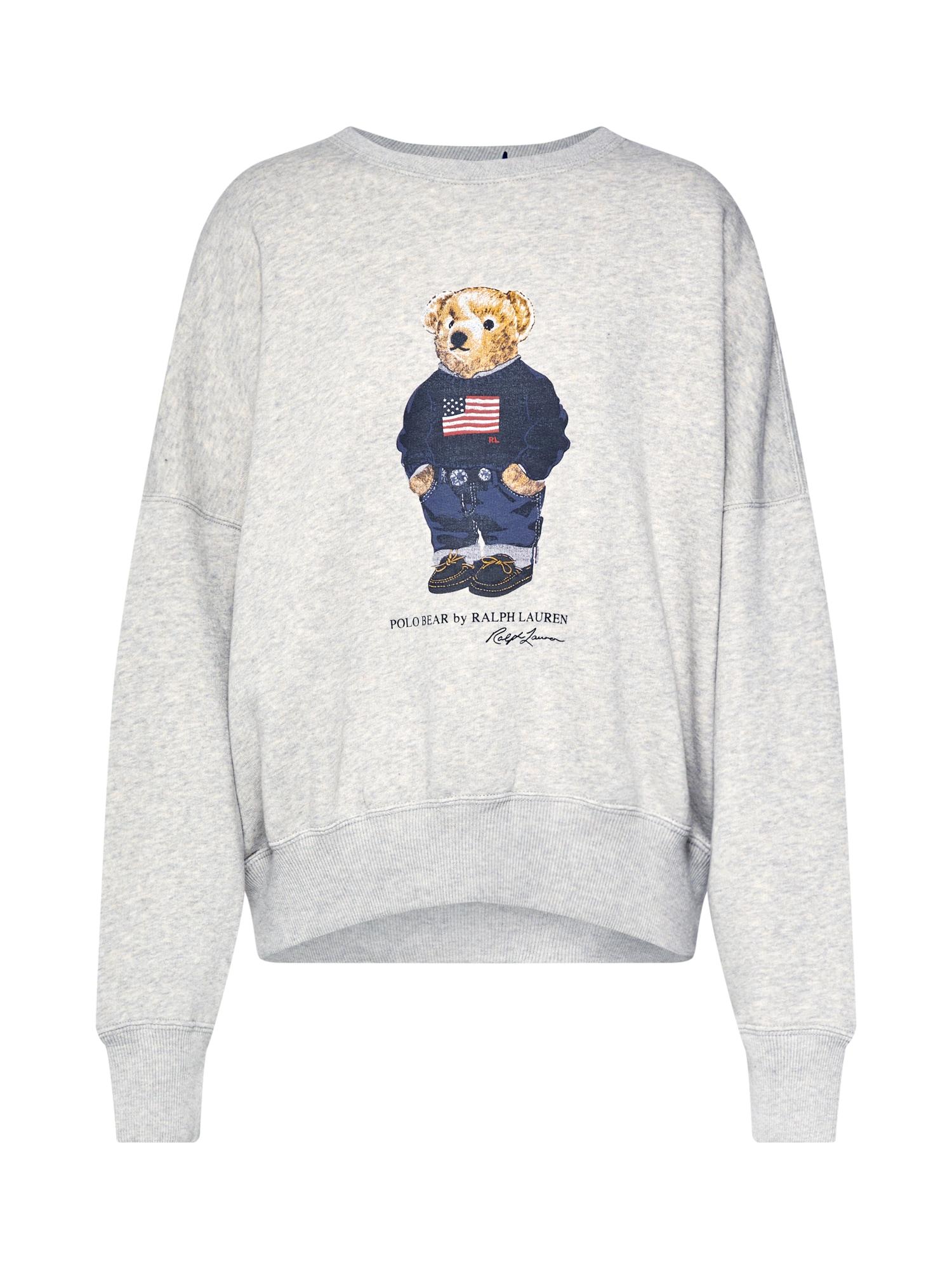 POLO RALPH LAUREN Bluză de molton 'FLG BEAR CN-LONG SLEEVE-KNIT'  gri