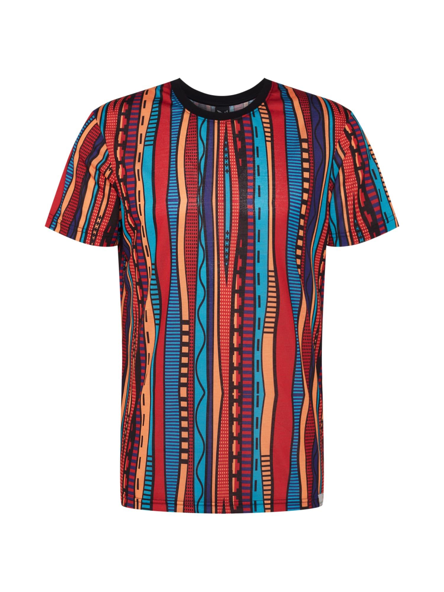 Iriedaily Tričko 'Theodore'  červené / svetlomodrá / svetlooranžové