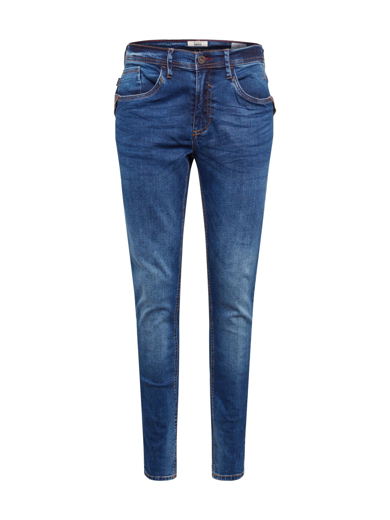BLEND Džinsai 'Jeans - leather' tamsiai (džinso) mėlyna
