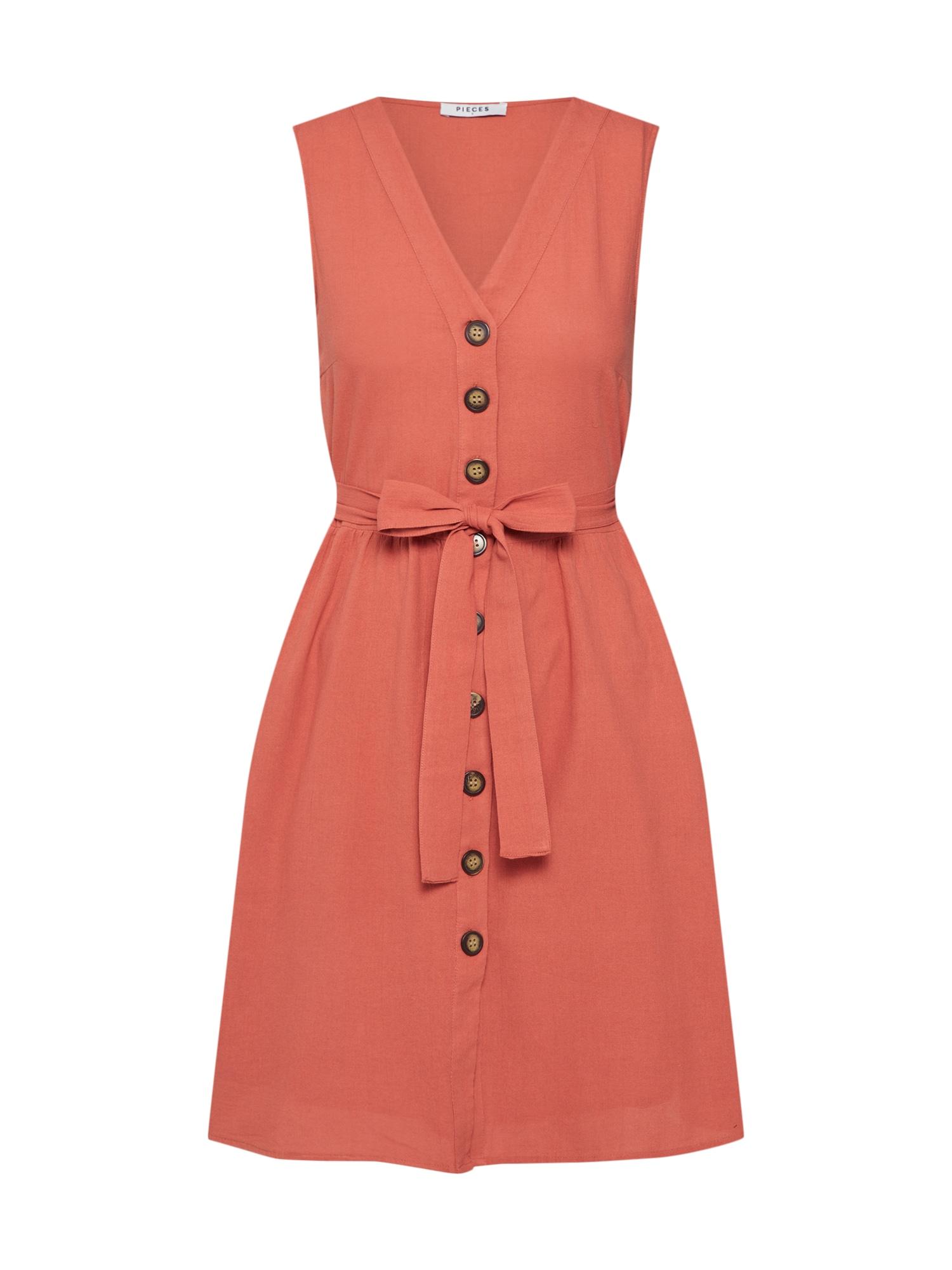 Letní šaty rezavě červená PIECES