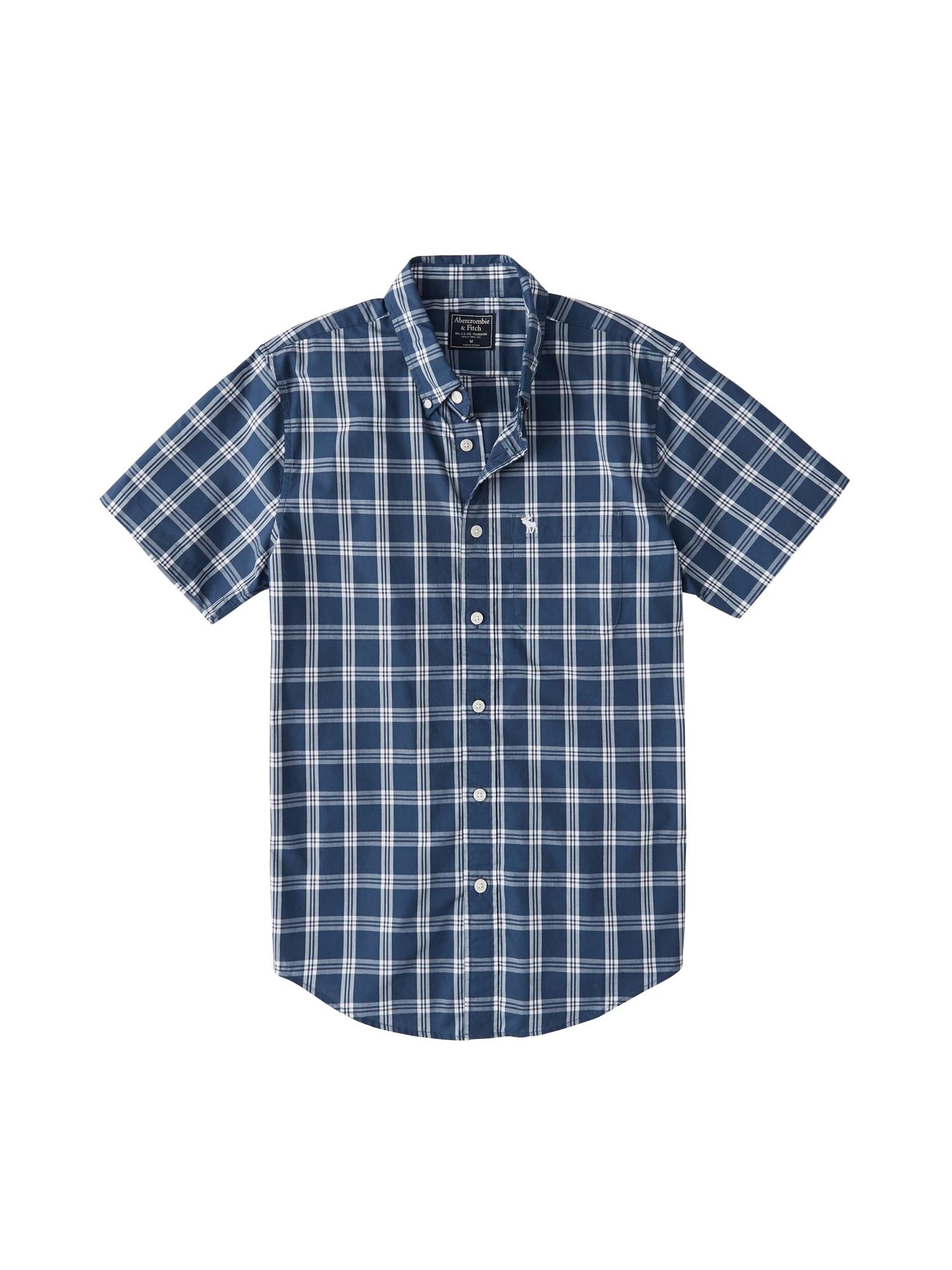 Košile SS OXFORD (DTC) modrá bílá Abercrombie & Fitch