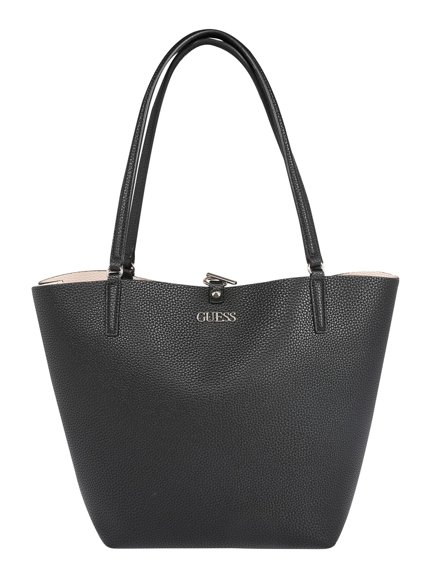 GUESS Pirkinių krepšys juoda / rožių spalva