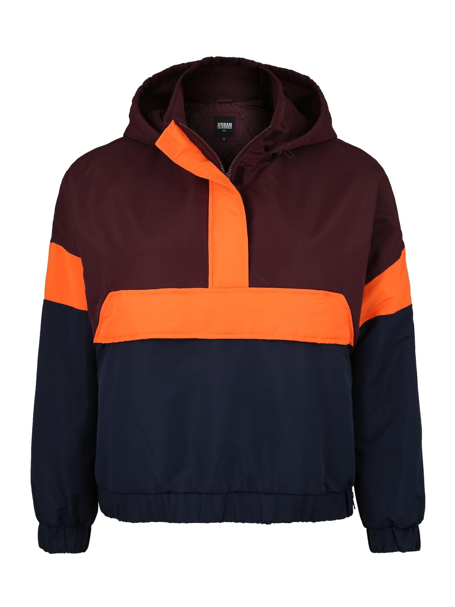 Urban Classics Curvy Demisezoninė striukė baklažano spalva / tamsiai mėlyna / neoninė oranžinė