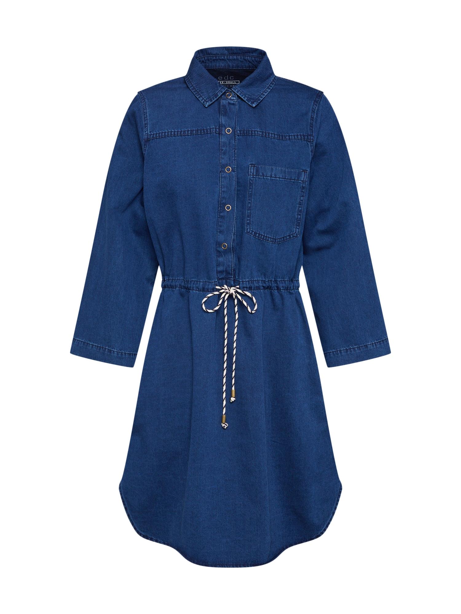 Košilové šaty modrá džínovina EDC BY ESPRIT