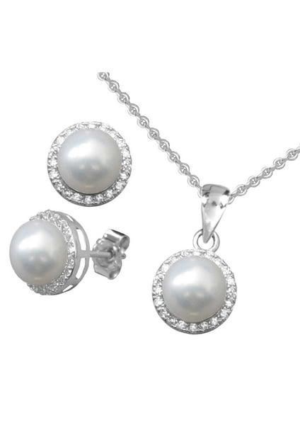 Schmucksets für Frauen - FIRETTI Ohrstecker und Halskette mit Perle und Zirkonia (4tlg.) silber perlweiß  - Onlineshop ABOUT YOU