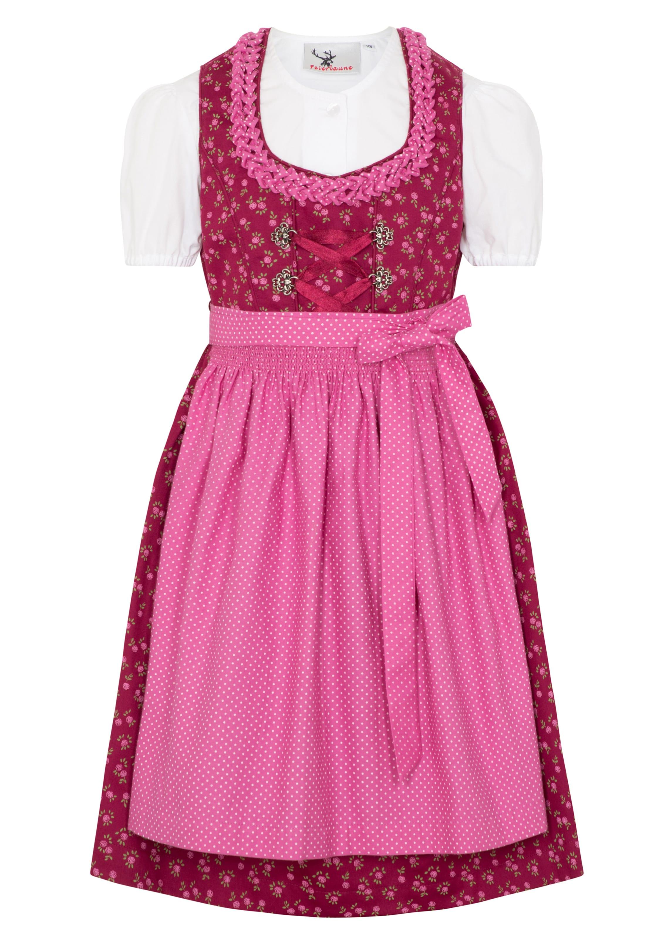 Kinder,  Mädchen,  Kinder SPIETH & WENSKY Dirndl mit Bluse 'Knuddel' pink,  rot,  weiß | 04059829596986