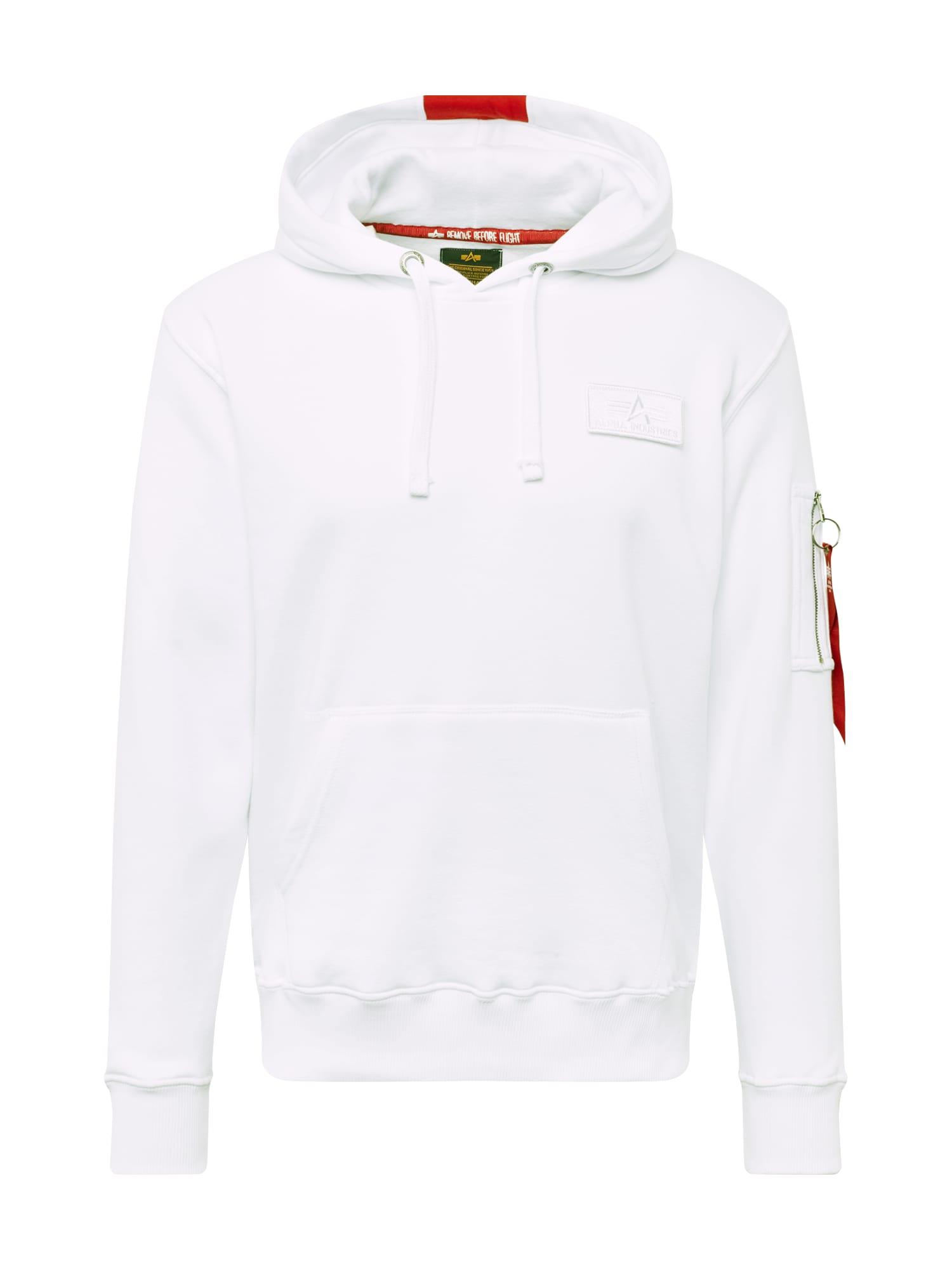 ALPHA INDUSTRIES Mikina 'Red Stripe'  biela / červené