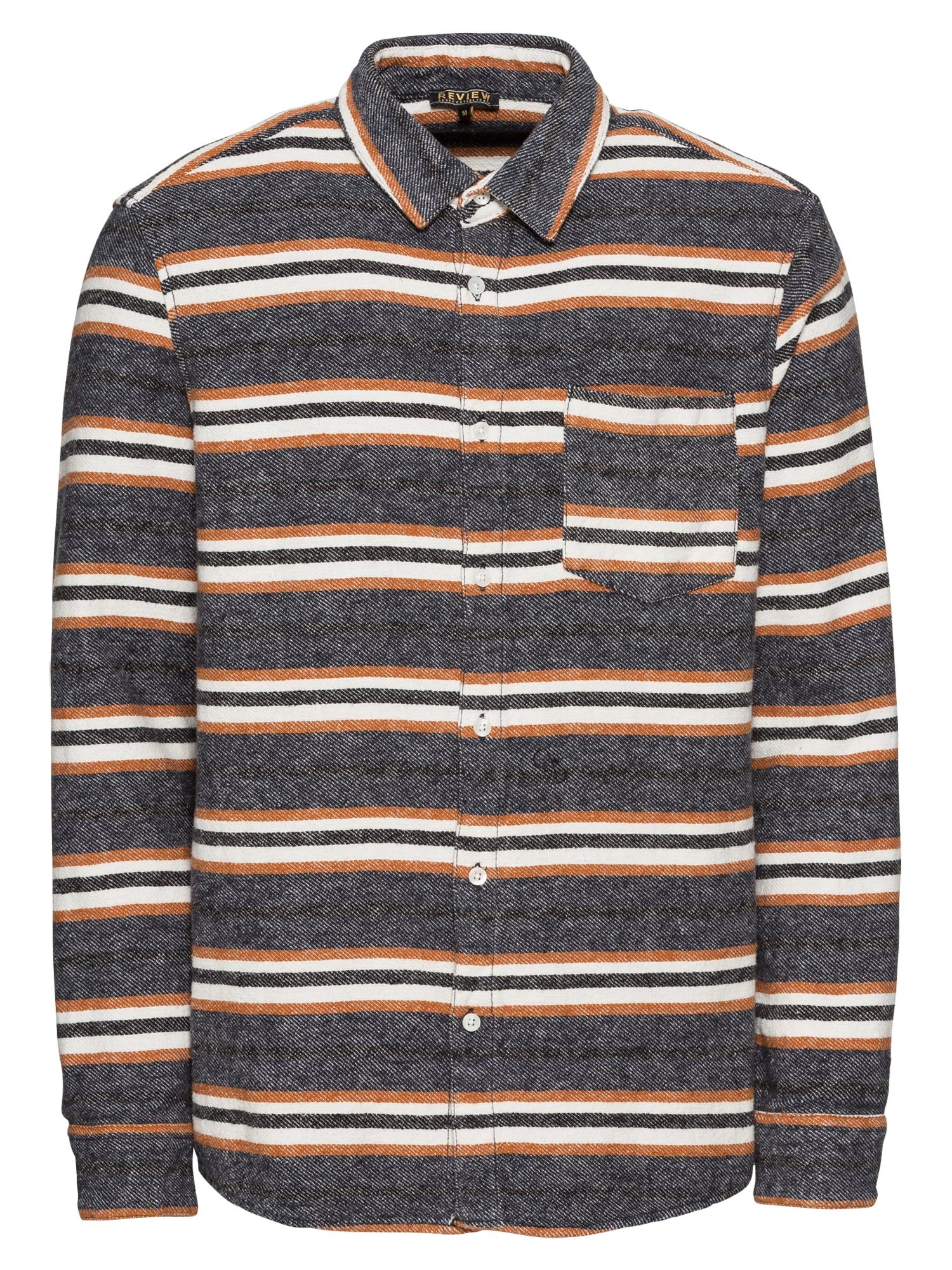 Košile STRIPE SHIRT šedá oranžová černá Review