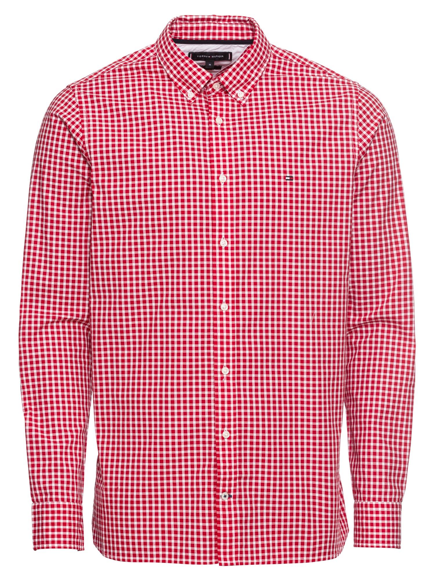 Košile SLIM CHECK SHIRT červená TOMMY HILFIGER