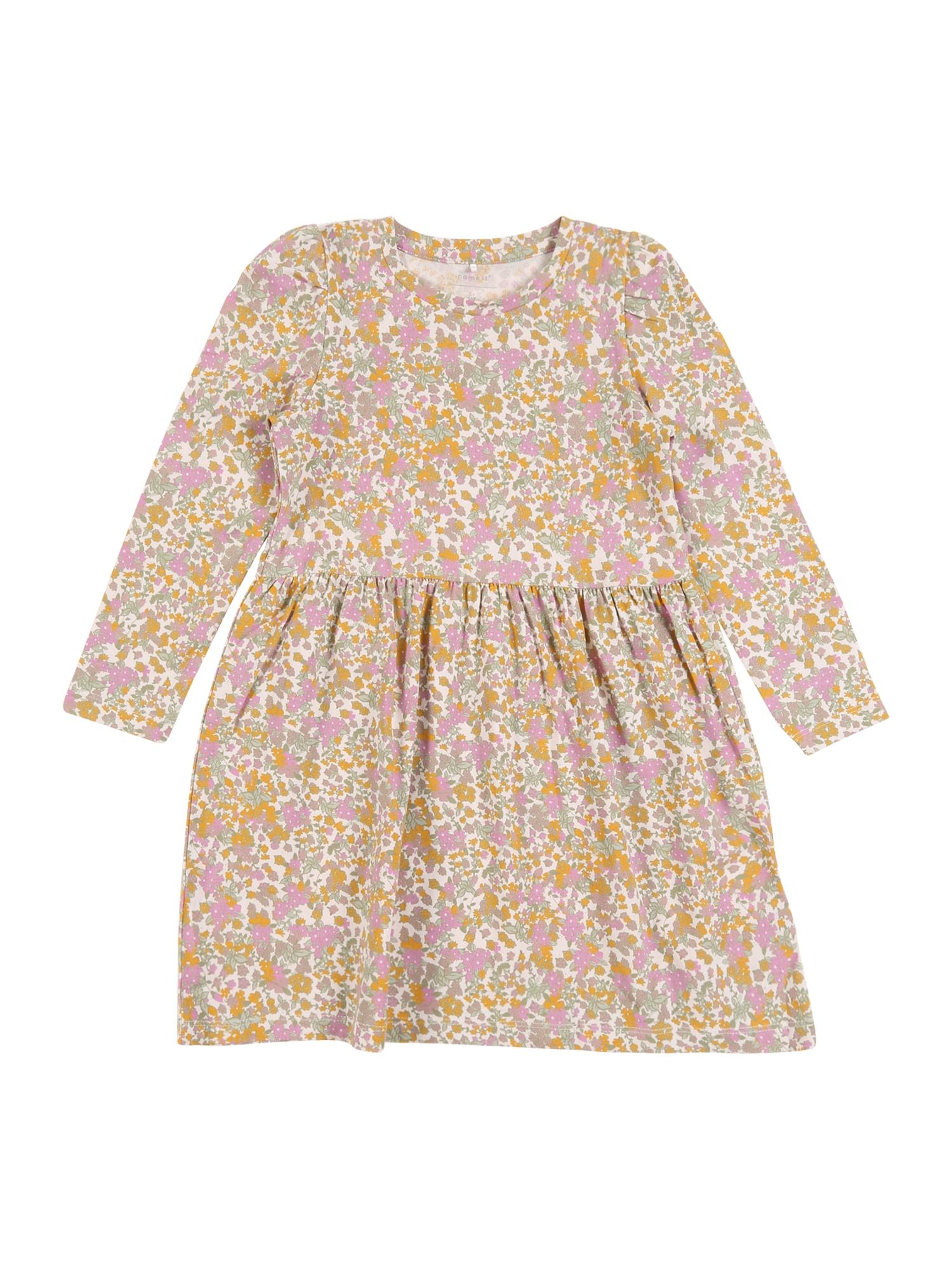 NAME IT Suknelė 'FLOW' rožių spalva / ryškiai rožinė spalva / geltona