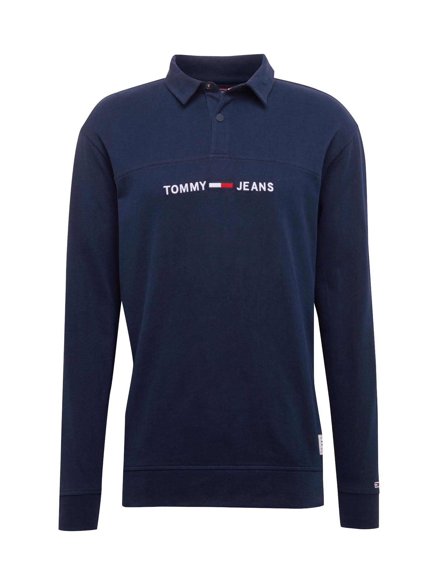 Mikina TJM ESSENTIAL RUGBY SHIRT tmavě modrá červená bílá Tommy Jeans