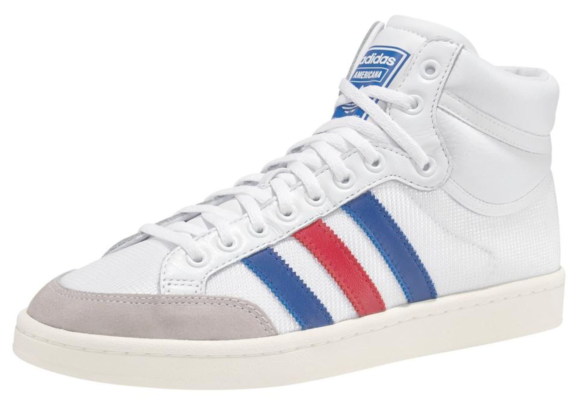 ADIDAS ORIGINALS Sportbačiai su auliuku 'Americana Hi' pilka / raudona / balta / mėlyna
