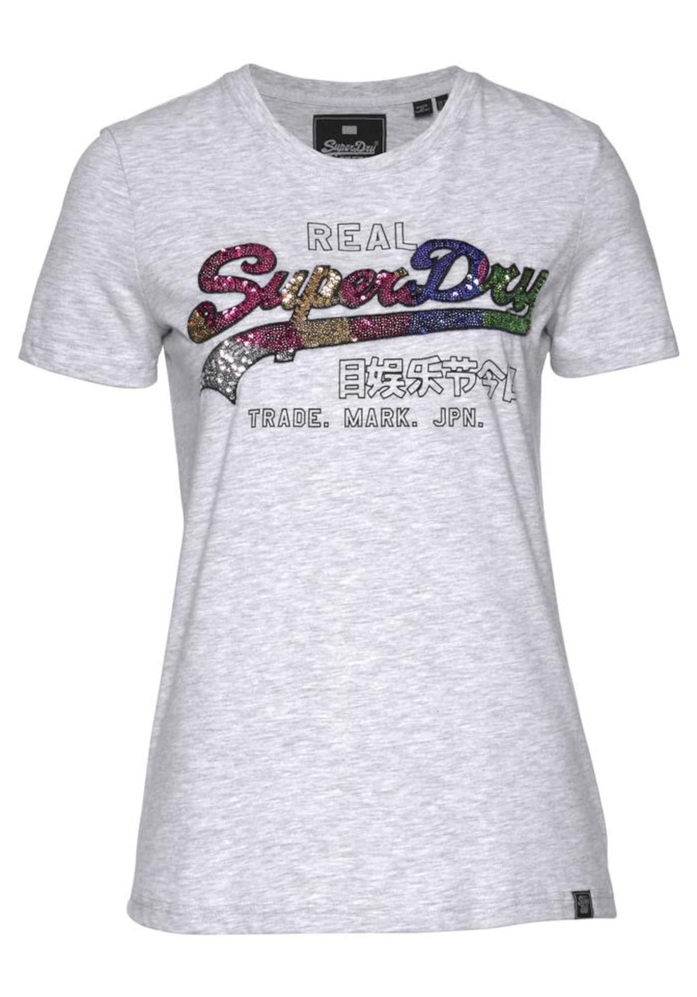 Tričko Carnival Sequin Entry šedý melír mix barev Superdry