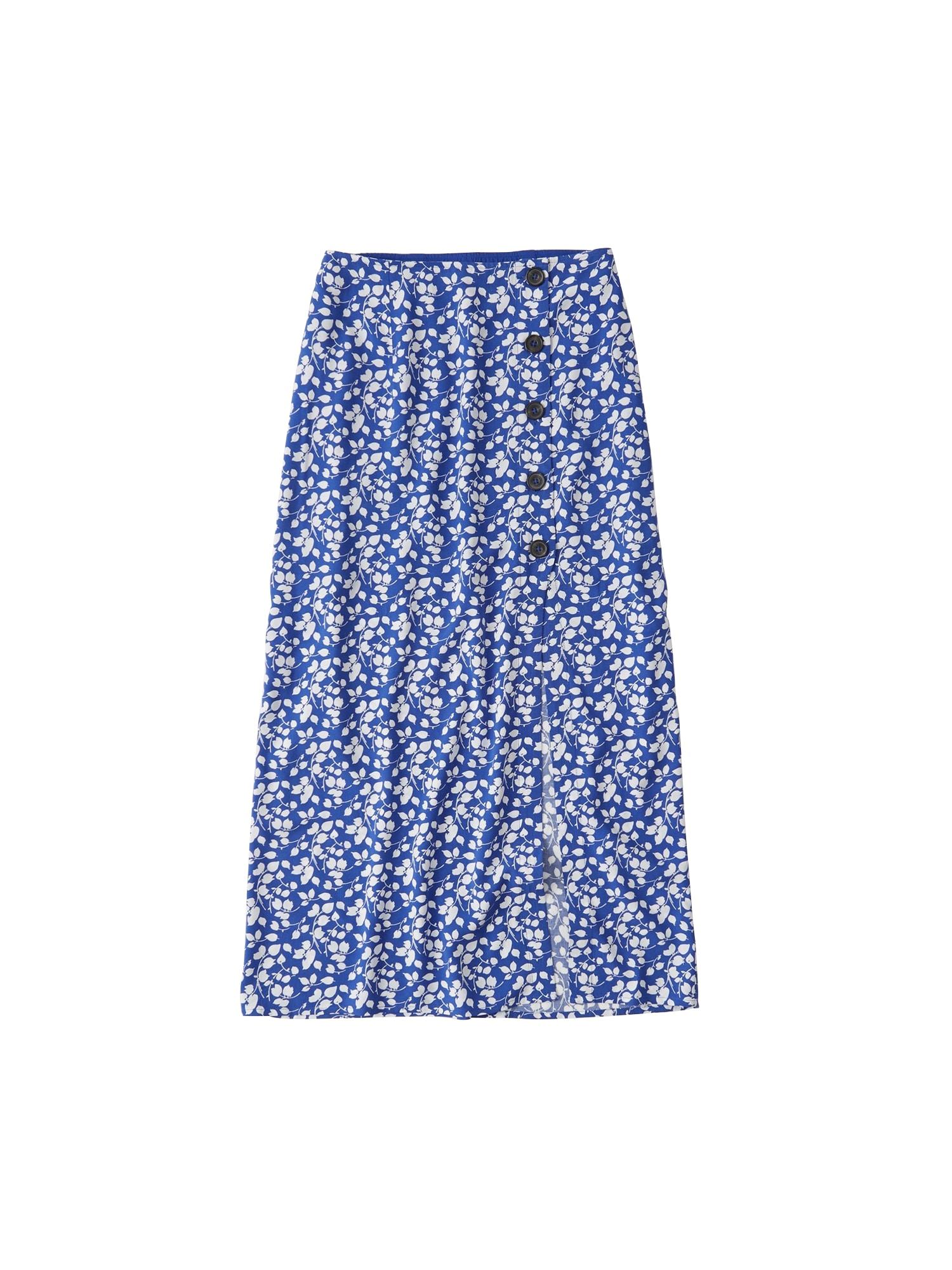 Sukně SB19-PRINTED WRAP MAXI modrá Abercrombie & Fitch