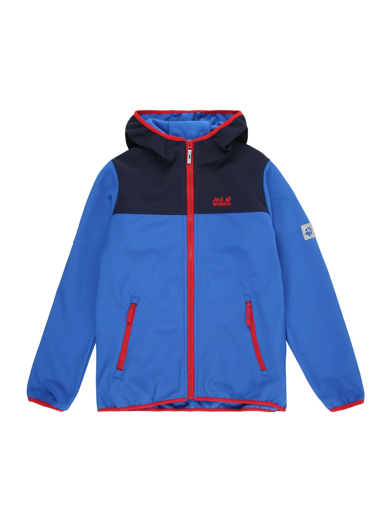JACK WOLFSKIN Outdoorová bunda 'FOUR WINDS'  modrá / tmavomodrá / červená