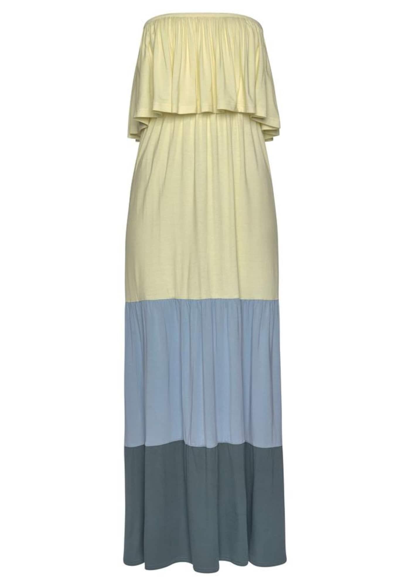 LASCANA Paplūdimio suknelė įdegio spalva / pastelinė geltona / mėlyna dūmų spalva