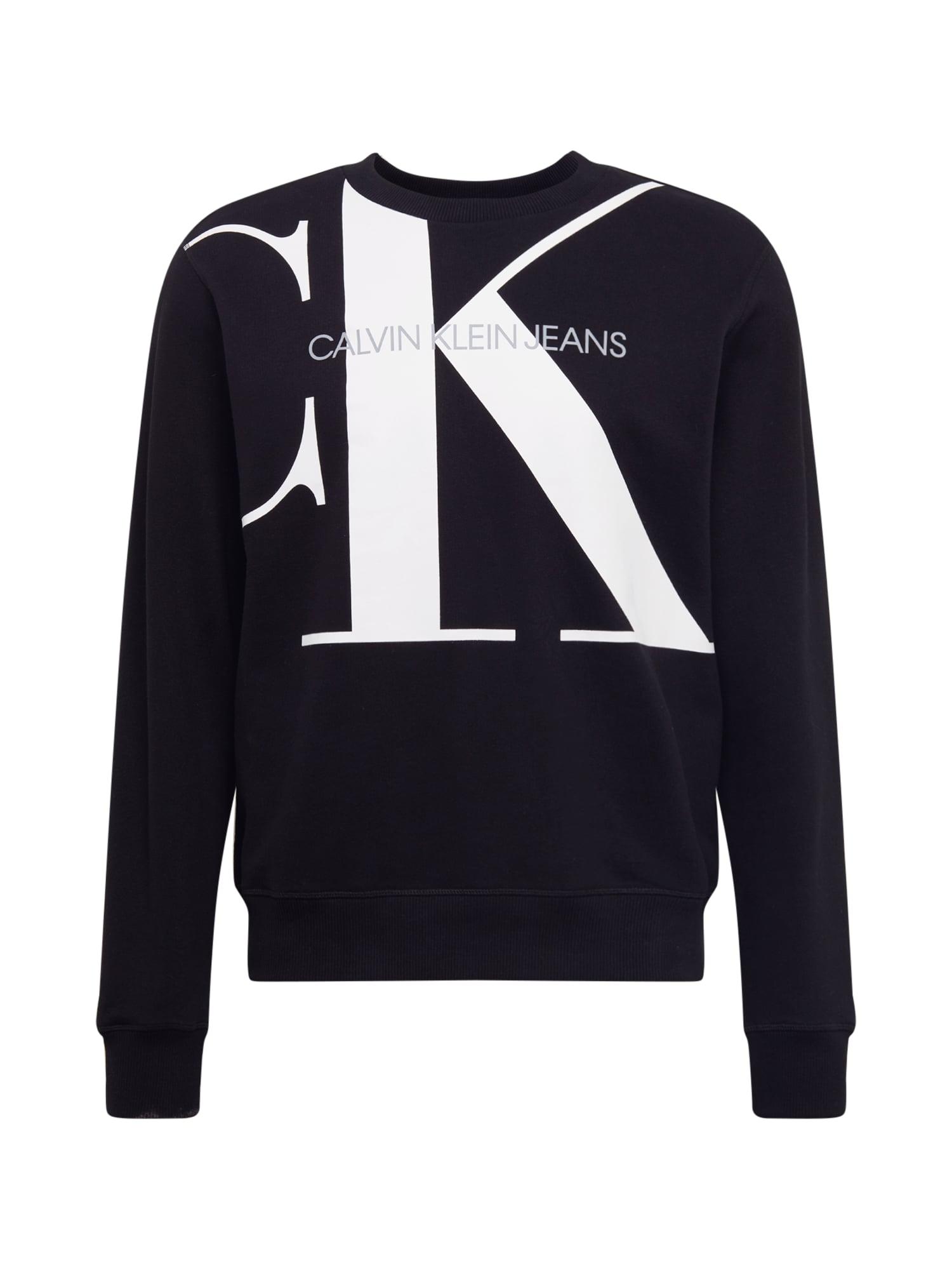 Calvin Klein Jeans Megztinis be užsegimo 'Upscale Monogram' juoda / balta