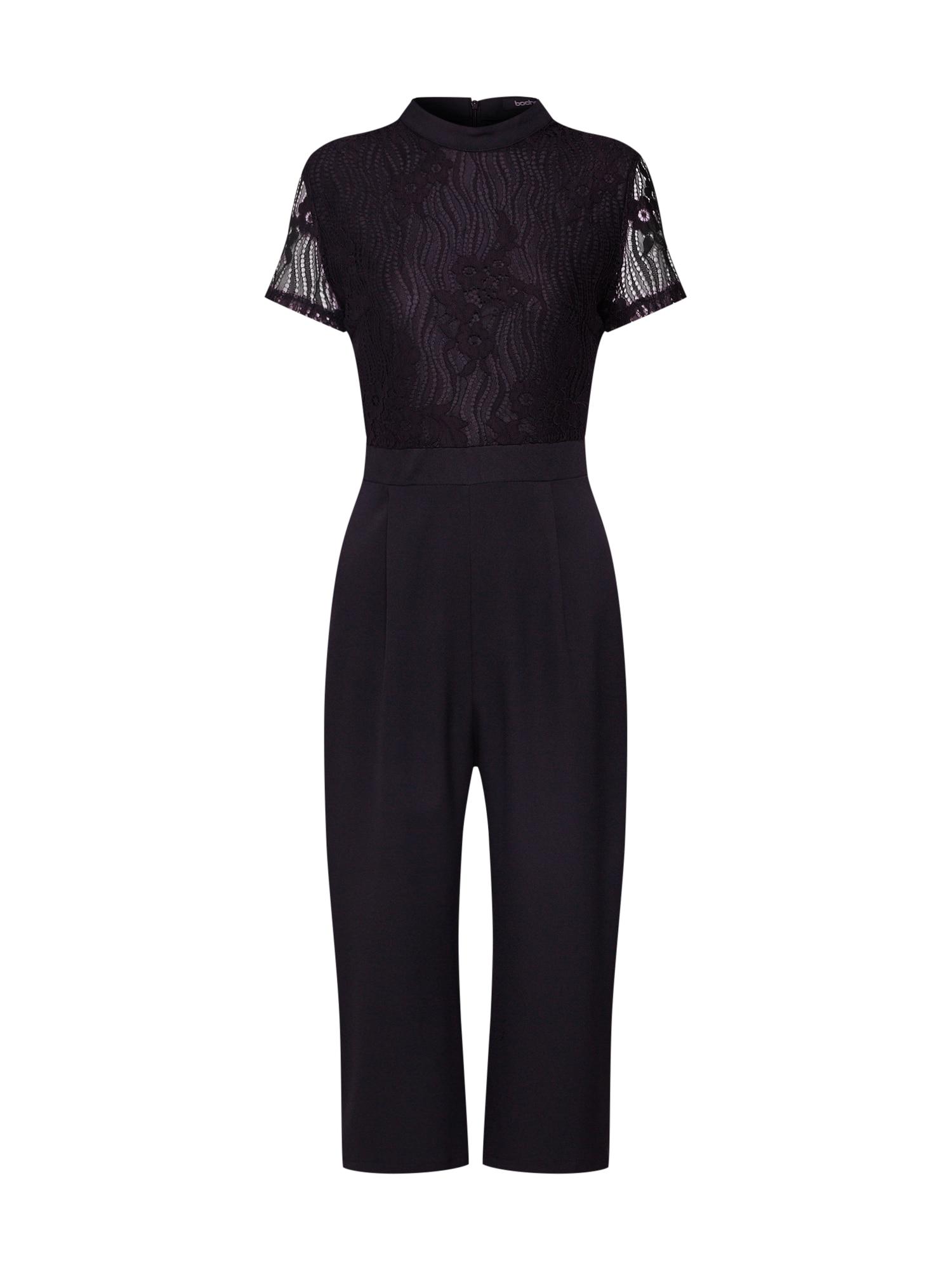 Overal High Neck Lace Cullotte Jumpsuit černá Boohoo