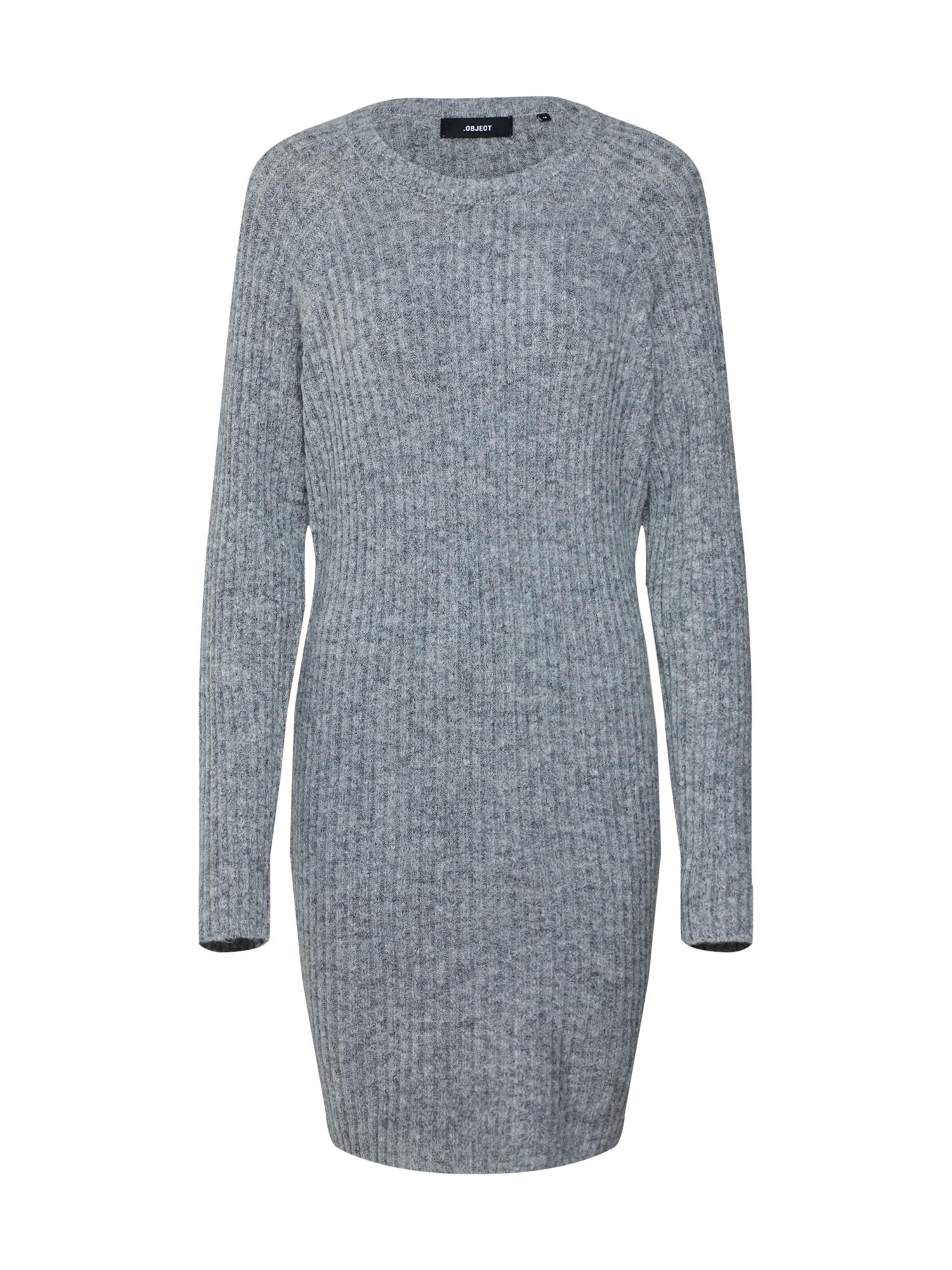 Úpletové šaty OBJNONSIA šedý melír OBJECT