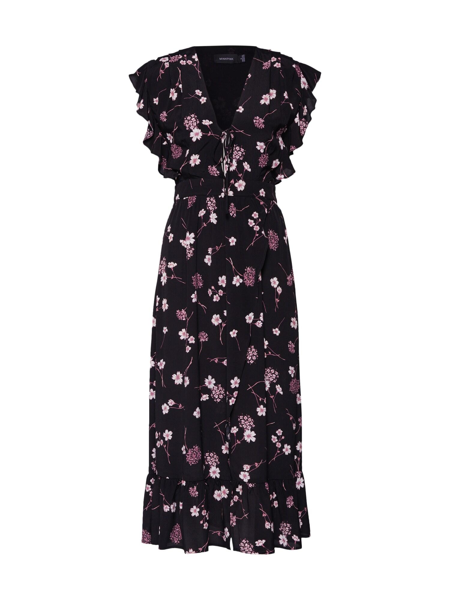 Šaty NIGHT GARDEN fialová černá bílá MINKPINK