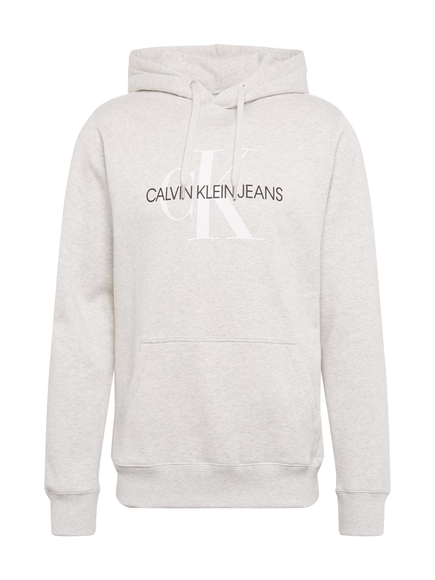 Calvin Klein Jeans Megztinis be užsegimo 'MONOGRAM' šviesiai pilka / juoda / balta