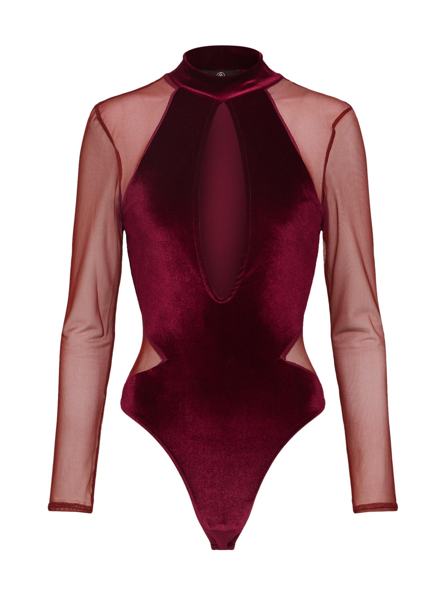 Tričko Velvet Bodysuit Lace Sleeves burgundská červeň Missguided