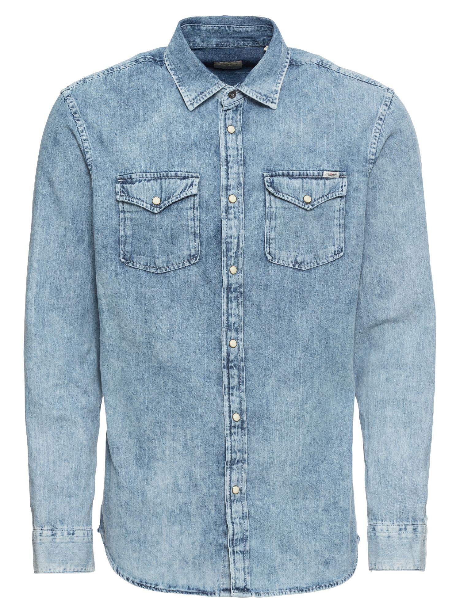 Košile JJESHERIDAN SHIRT LS modrá džínovina JACK & JONES